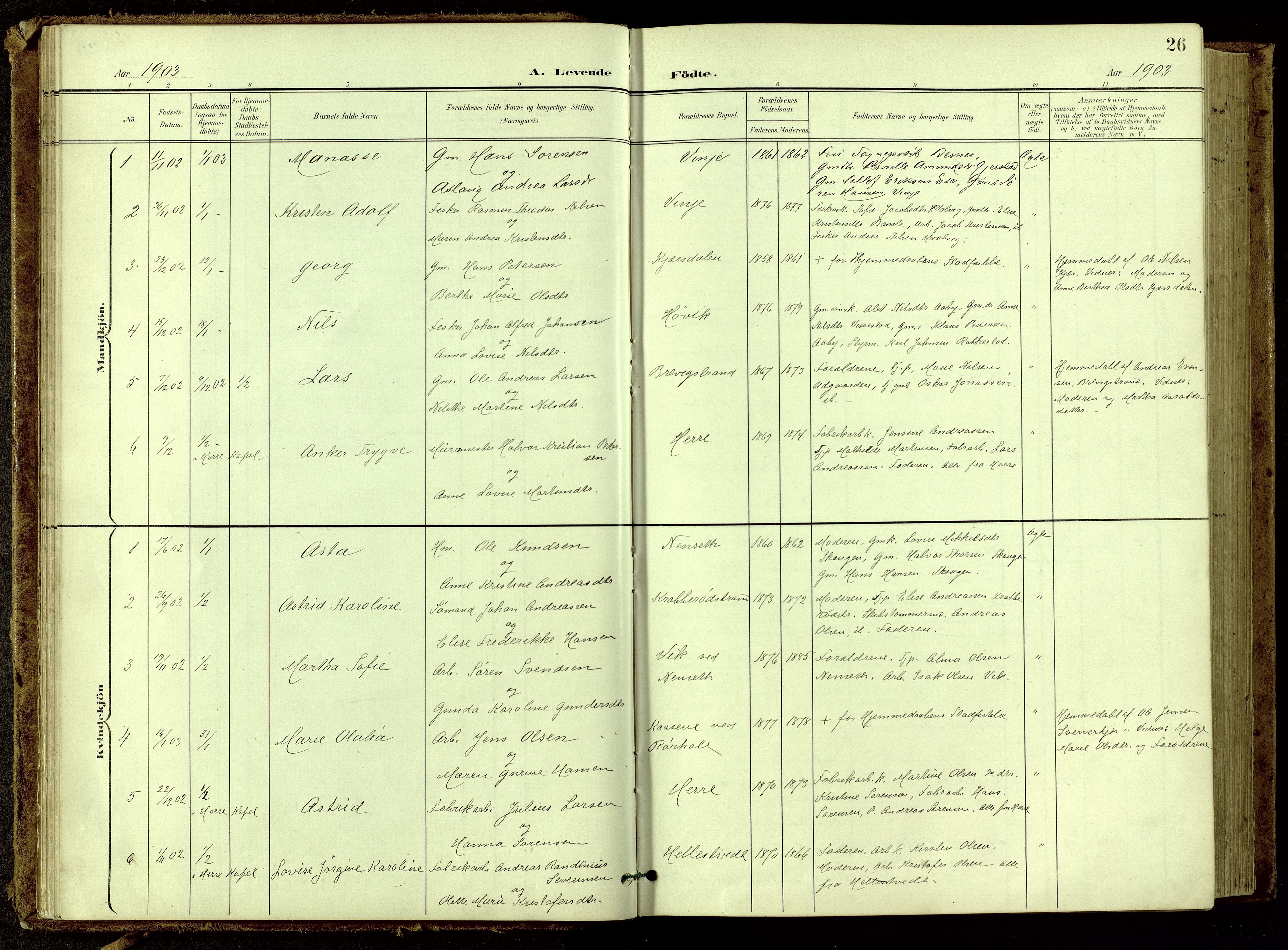 SAKO, Bamble kirkebøker, G/Ga/L0010: Klokkerbok nr. I 10, 1901-1919, s. 26