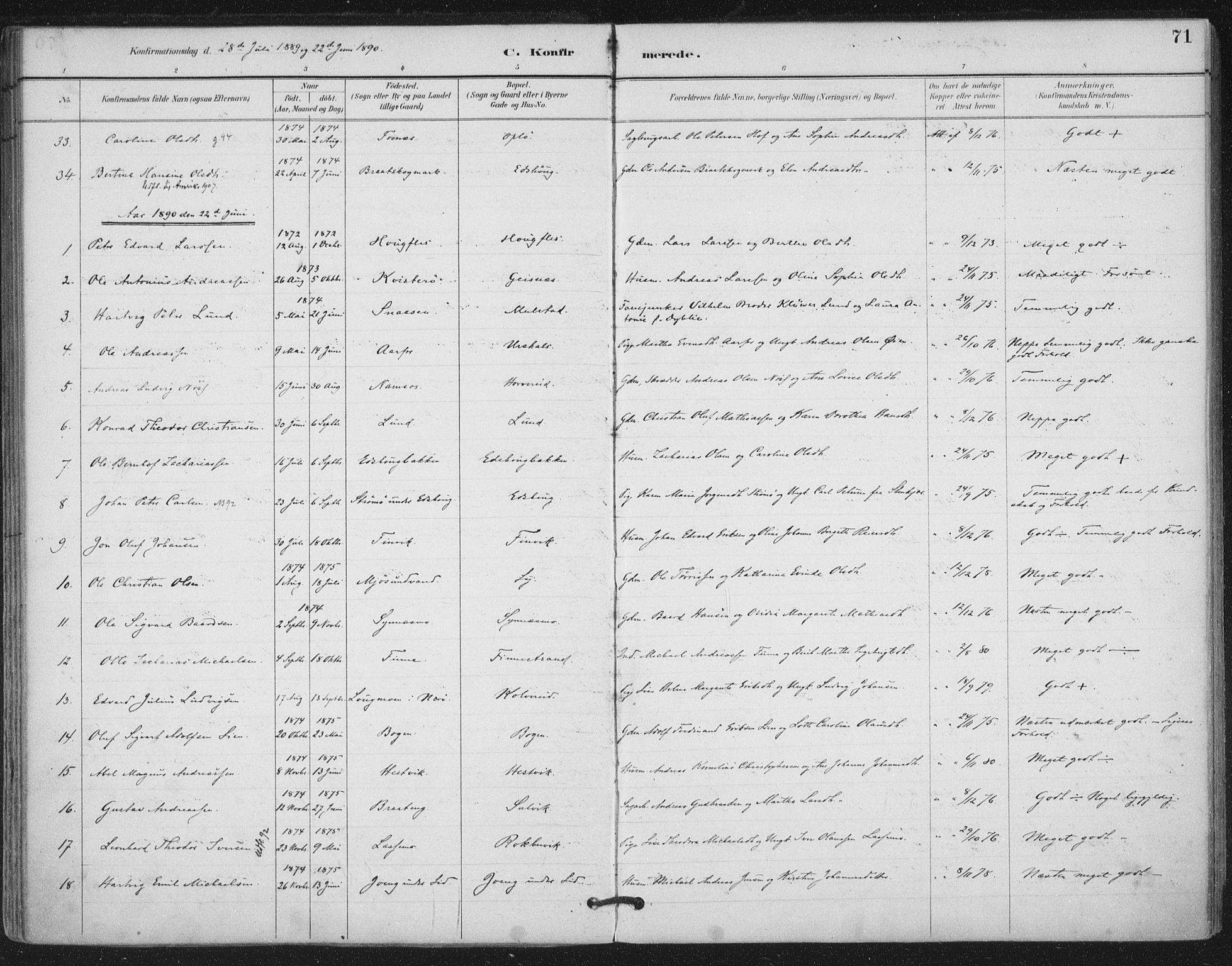 SAT, Ministerialprotokoller, klokkerbøker og fødselsregistre - Nord-Trøndelag, 780/L0644: Ministerialbok nr. 780A08, 1886-1903, s. 71