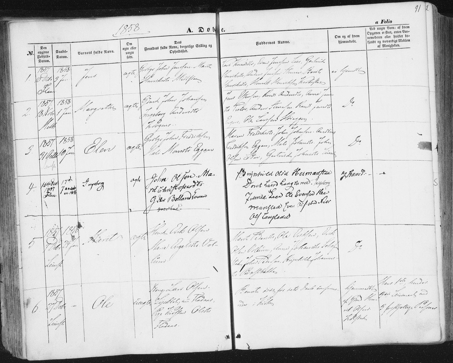 SAT, Ministerialprotokoller, klokkerbøker og fødselsregistre - Sør-Trøndelag, 691/L1076: Ministerialbok nr. 691A08, 1852-1861, s. 91