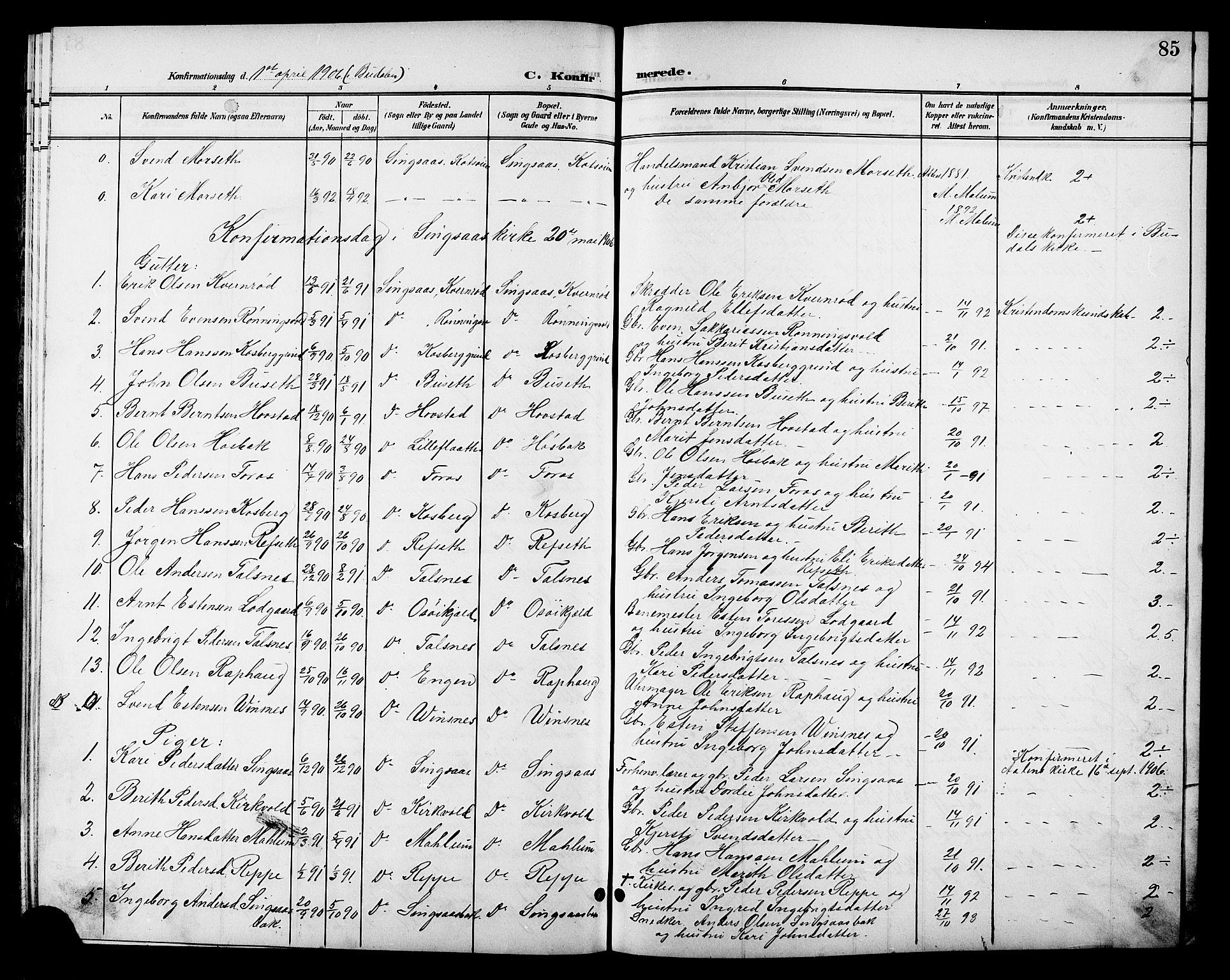 SAT, Ministerialprotokoller, klokkerbøker og fødselsregistre - Sør-Trøndelag, 688/L1029: Klokkerbok nr. 688C04, 1899-1915, s. 85