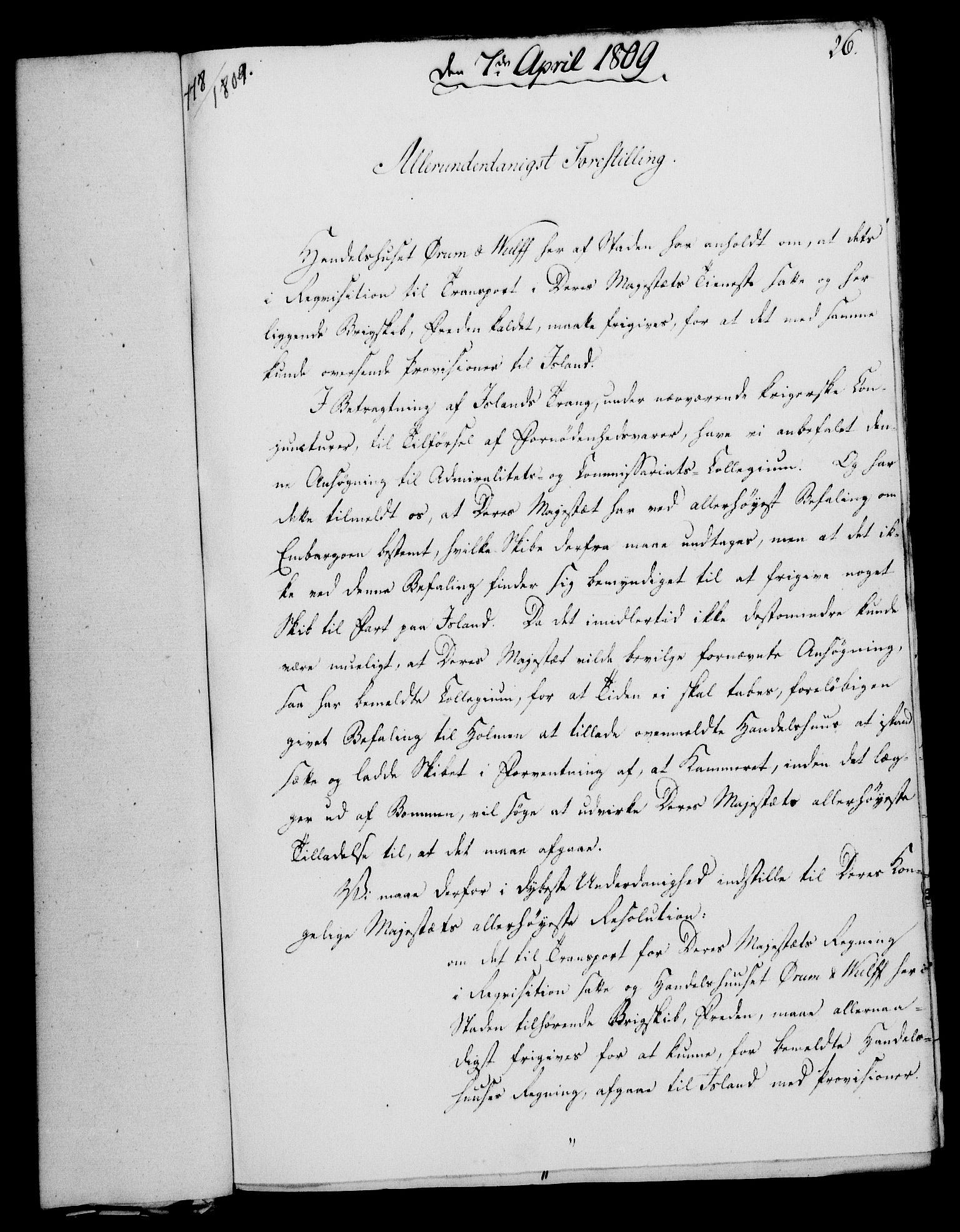 RA, Rentekammeret, Kammerkanselliet, G/Gf/Gfa/L0091: Norsk relasjons- og resolusjonsprotokoll (merket RK 52.91), 1809, s. 132