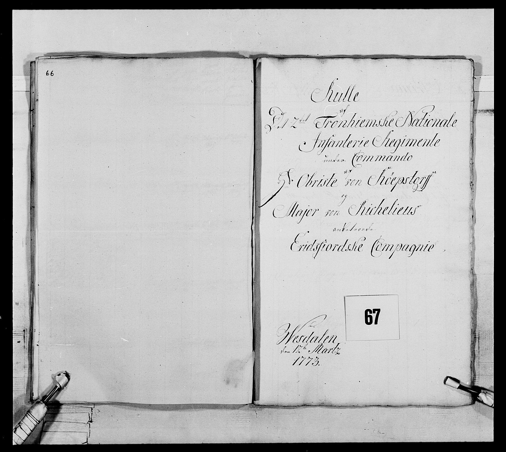 RA, Generalitets- og kommissariatskollegiet, Det kongelige norske kommissariatskollegium, E/Eh/L0076: 2. Trondheimske nasjonale infanteriregiment, 1766-1773, s. 259
