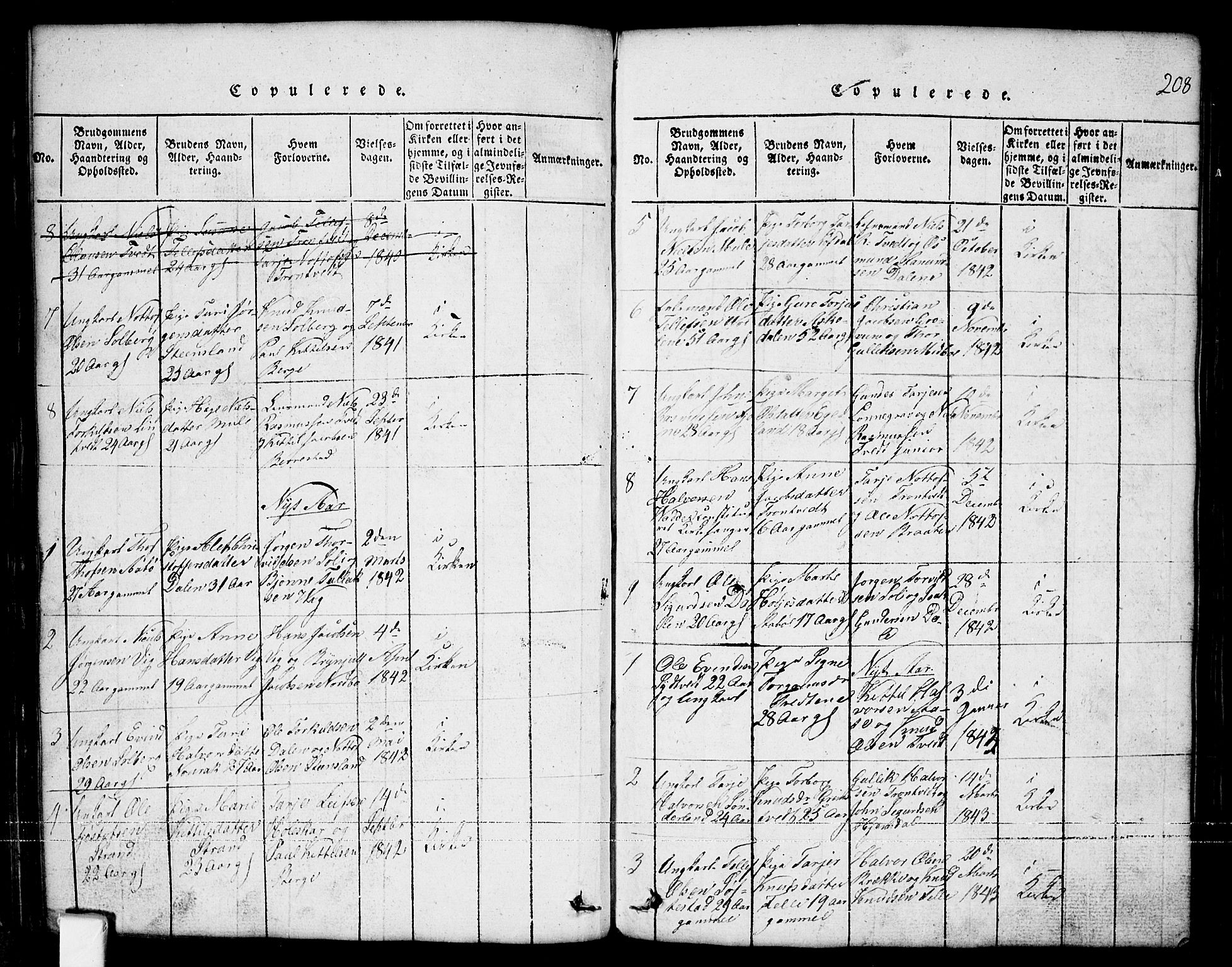 SAKO, Nissedal kirkebøker, G/Ga/L0001: Klokkerbok nr. I 1, 1814-1860, s. 208