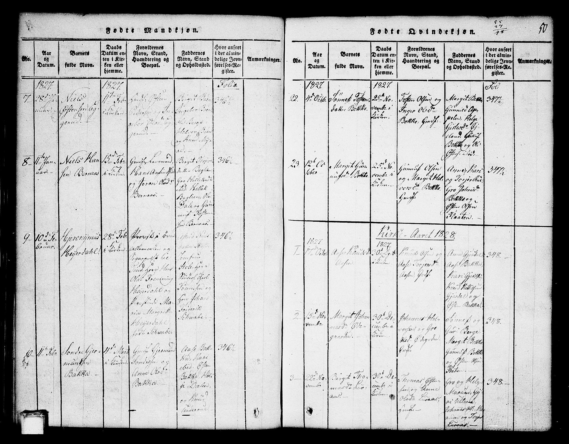 SAKO, Tinn kirkebøker, G/Ga/L0001: Klokkerbok nr. I 1, 1815-1850, s. 50