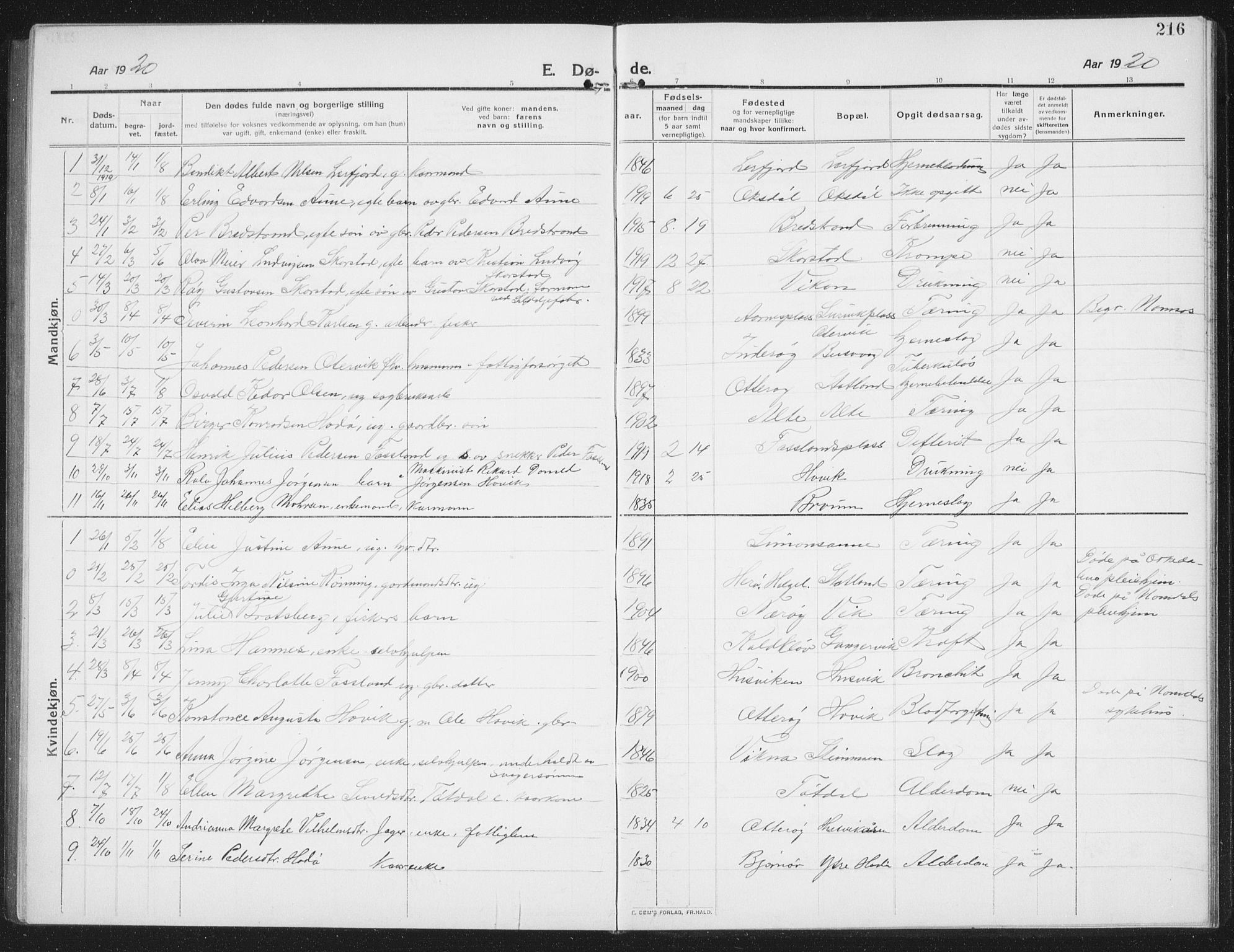 SAT, Ministerialprotokoller, klokkerbøker og fødselsregistre - Nord-Trøndelag, 774/L0630: Klokkerbok nr. 774C01, 1910-1934, s. 216