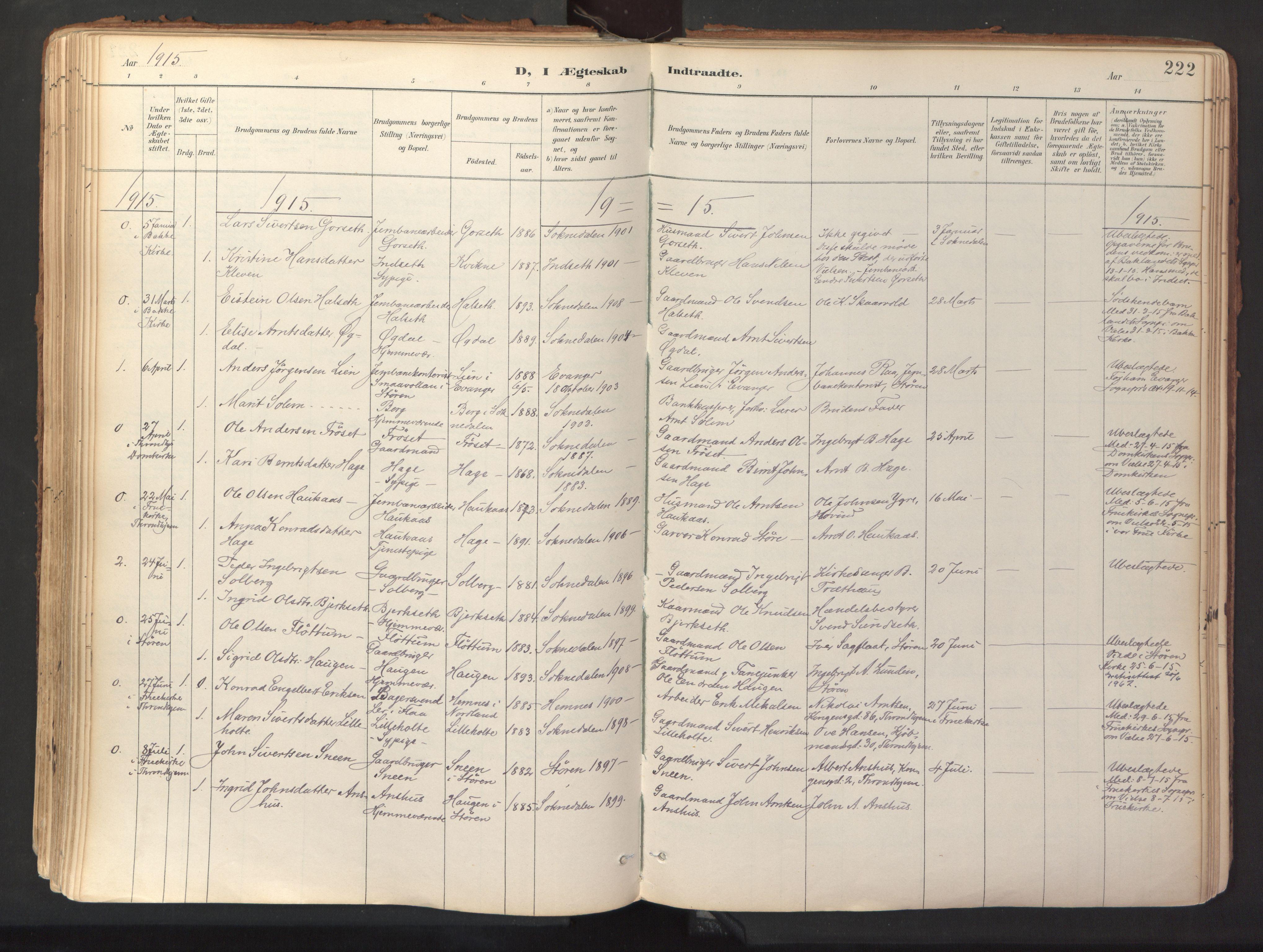 SAT, Ministerialprotokoller, klokkerbøker og fødselsregistre - Sør-Trøndelag, 689/L1041: Ministerialbok nr. 689A06, 1891-1923, s. 222