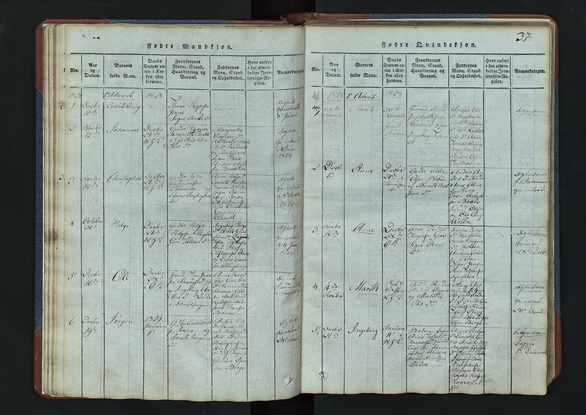 SAH, Vang prestekontor, Valdres, Klokkerbok nr. 3, 1814-1892, s. 37