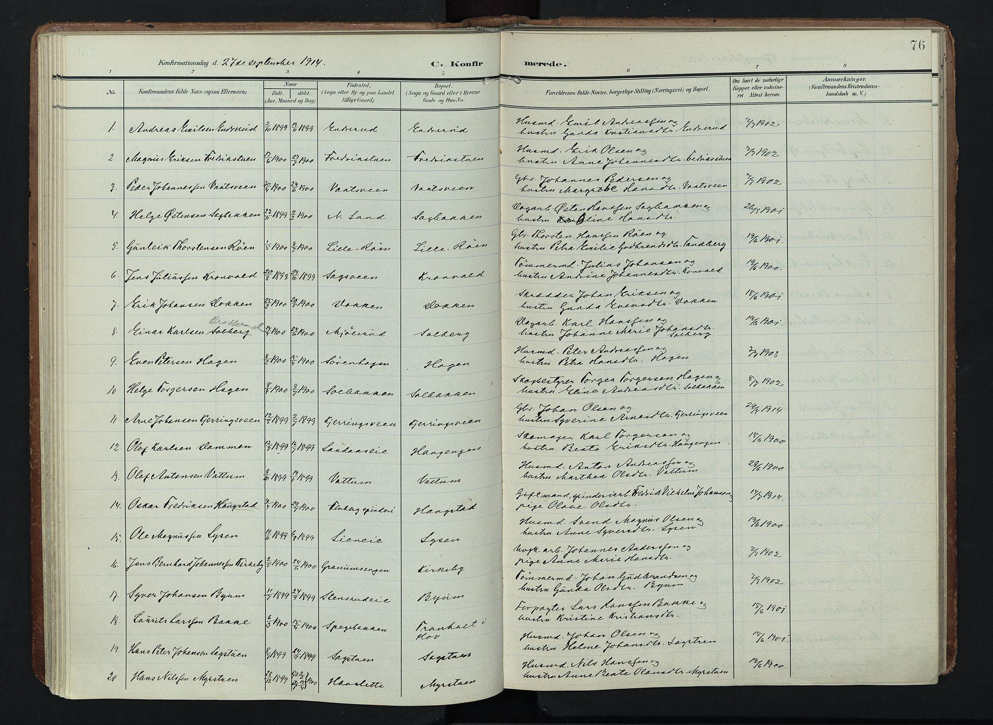 SAH, Søndre Land prestekontor, K/L0005: Ministerialbok nr. 5, 1905-1914, s. 76