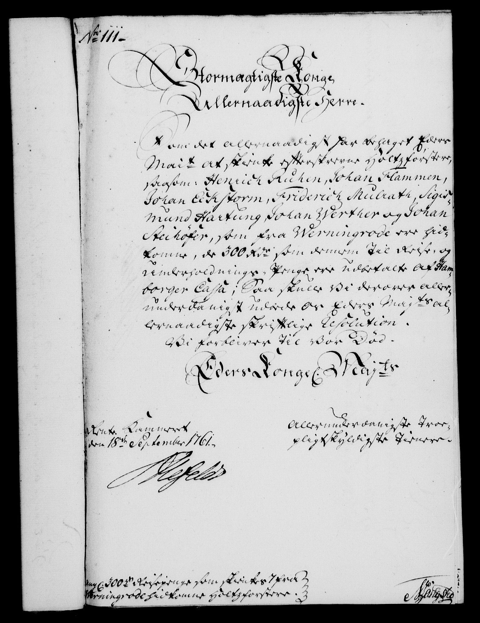 RA, Rentekammeret, Kammerkanselliet, G/Gf/Gfa/L0043: Norsk relasjons- og resolusjonsprotokoll (merket RK 52.43), 1761, s. 421