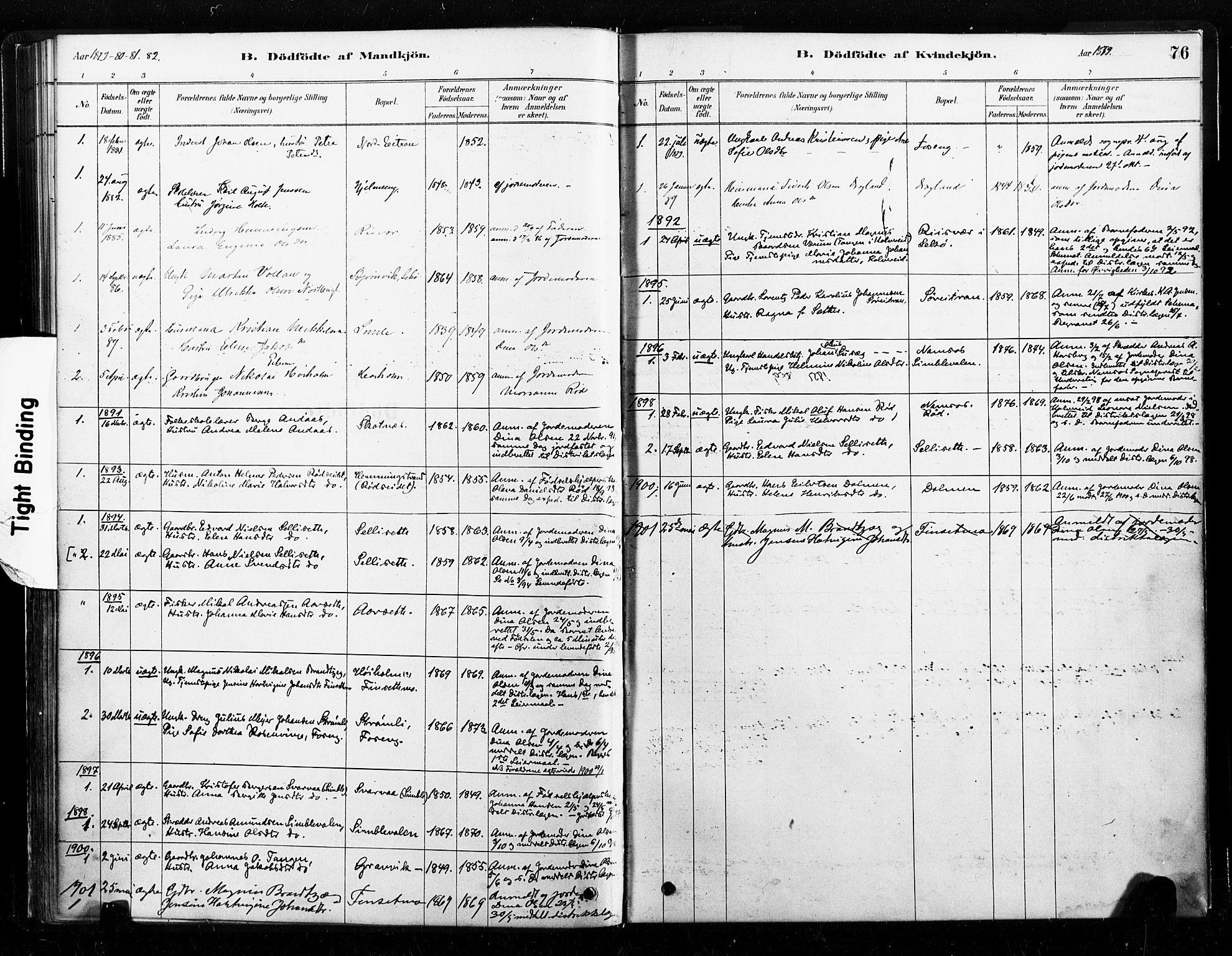 SAT, Ministerialprotokoller, klokkerbøker og fødselsregistre - Nord-Trøndelag, 789/L0705: Ministerialbok nr. 789A01, 1878-1910, s. 76
