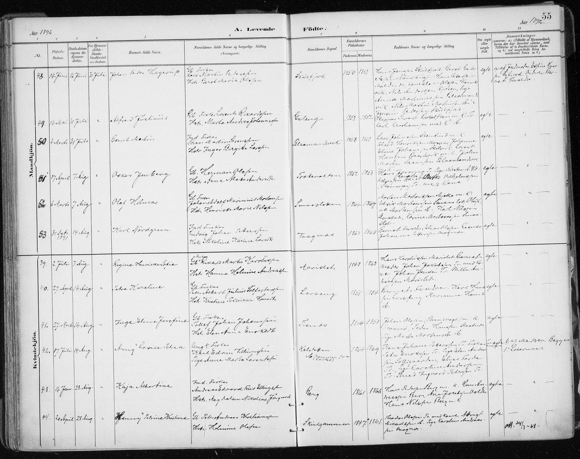 SATØ, Tromsøysund sokneprestkontor, G/Ga/L0005kirke: Ministerialbok nr. 5, 1888-1896, s. 55