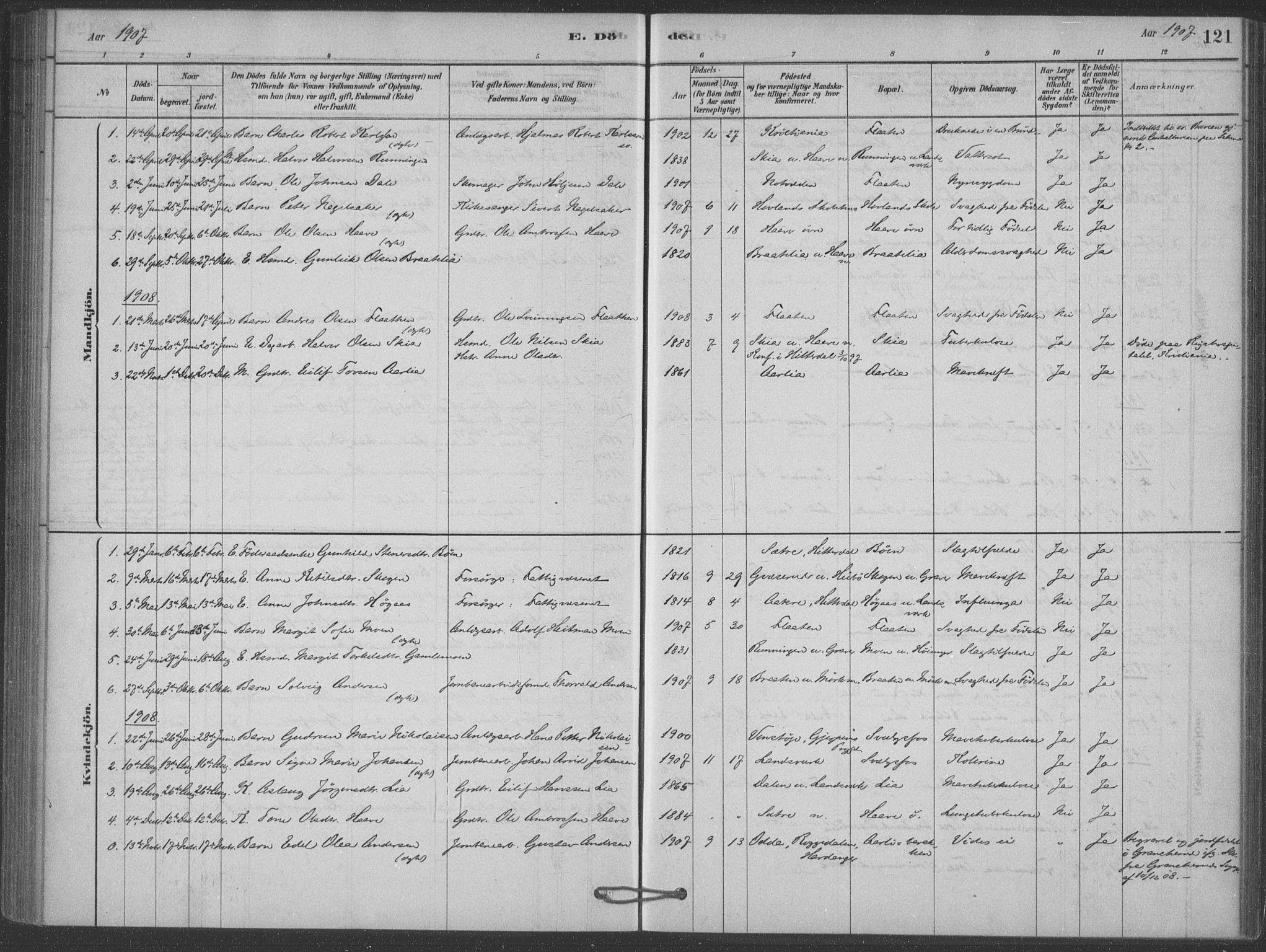 SAKO, Heddal kirkebøker, F/Fb/L0002: Ministerialbok nr. II 2, 1878-1913, s. 121