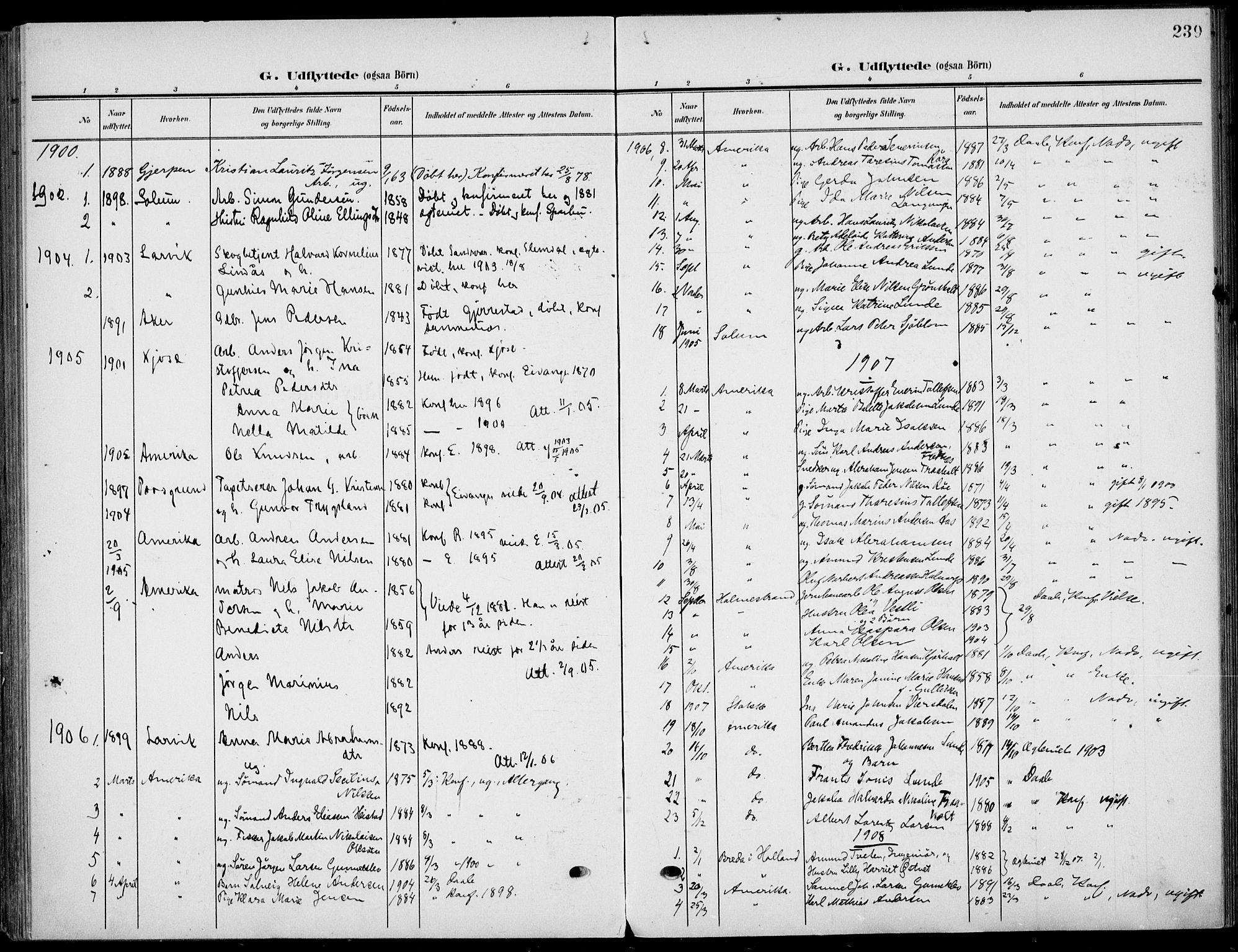 SAKO, Eidanger kirkebøker, F/Fa/L0013: Ministerialbok nr. 13, 1900-1913, s. 239