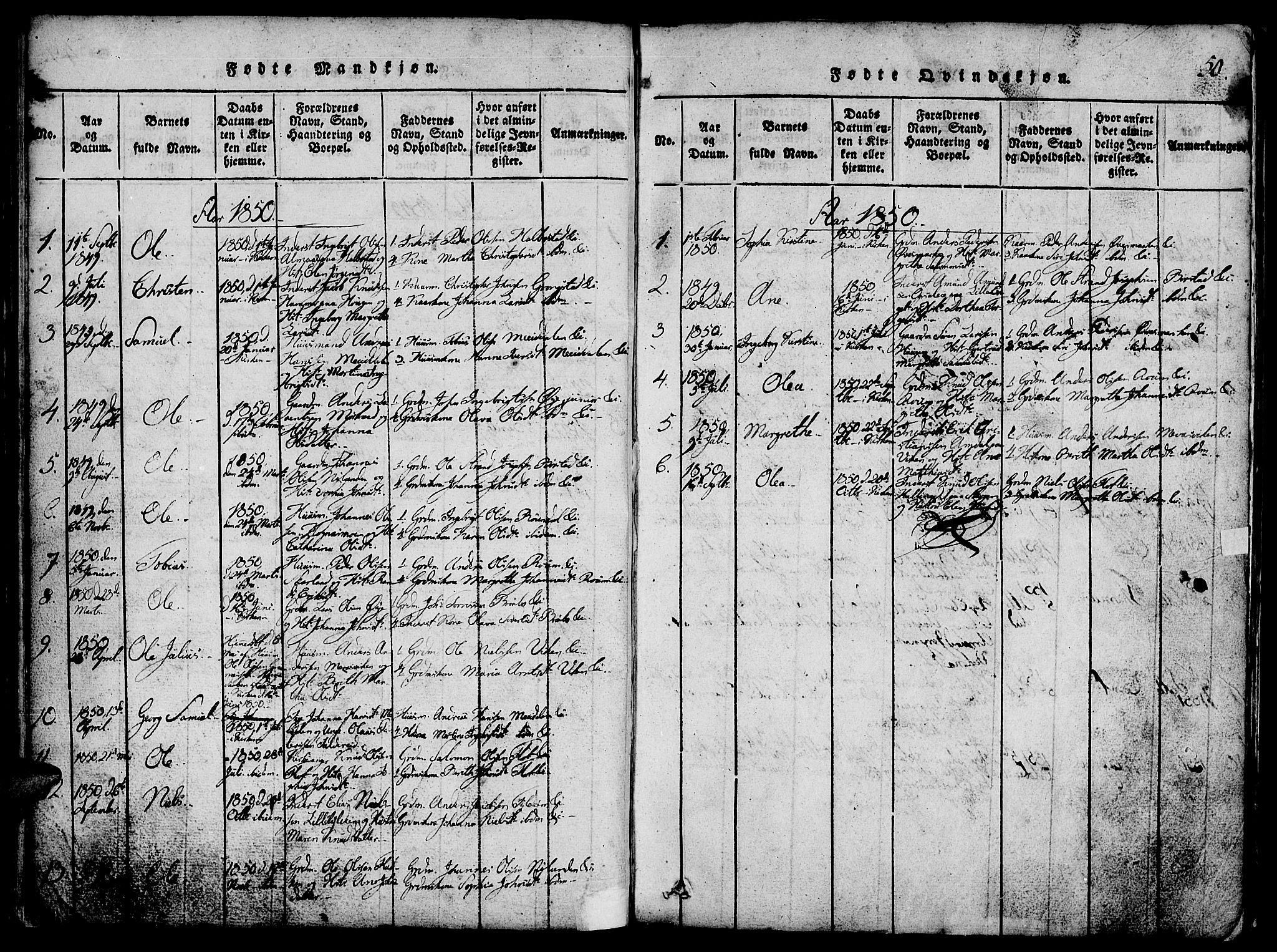 SAT, Ministerialprotokoller, klokkerbøker og fødselsregistre - Nord-Trøndelag, 765/L0562: Klokkerbok nr. 765C01, 1817-1851, s. 50