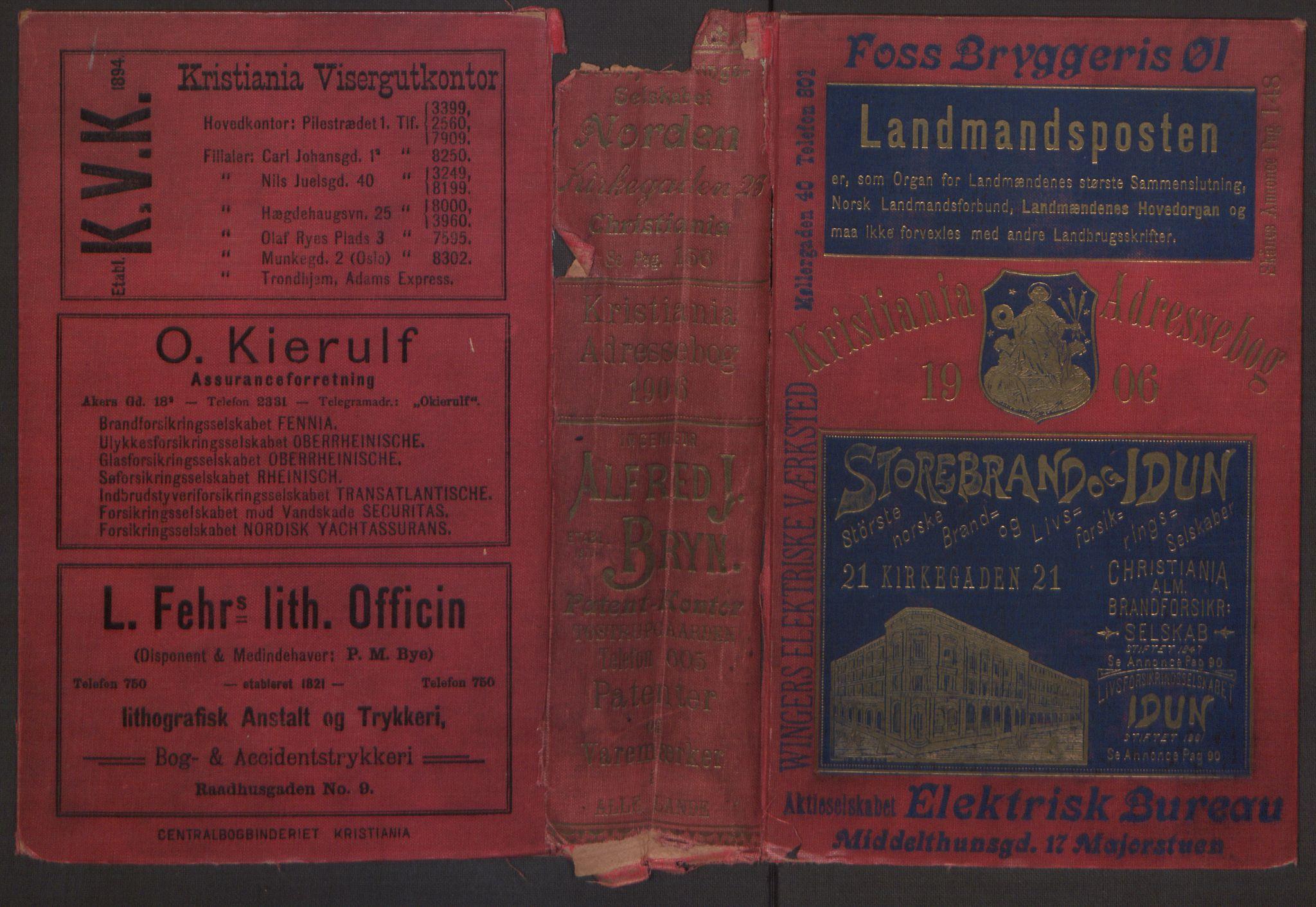PUBL, Kristiania/Oslo adressebok, 1906