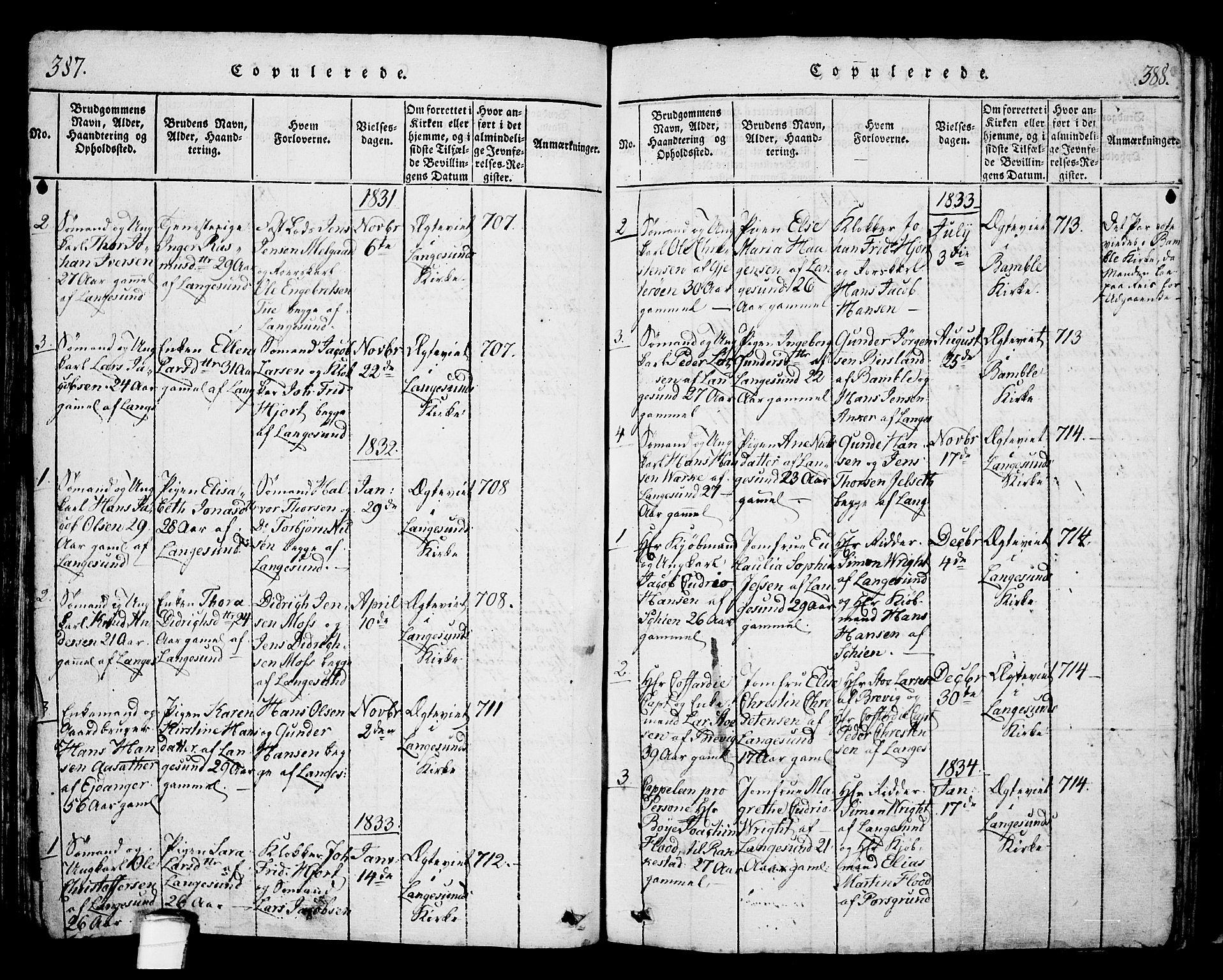 SAKO, Langesund kirkebøker, G/Ga/L0003: Klokkerbok nr. 3, 1815-1858, s. 387-388