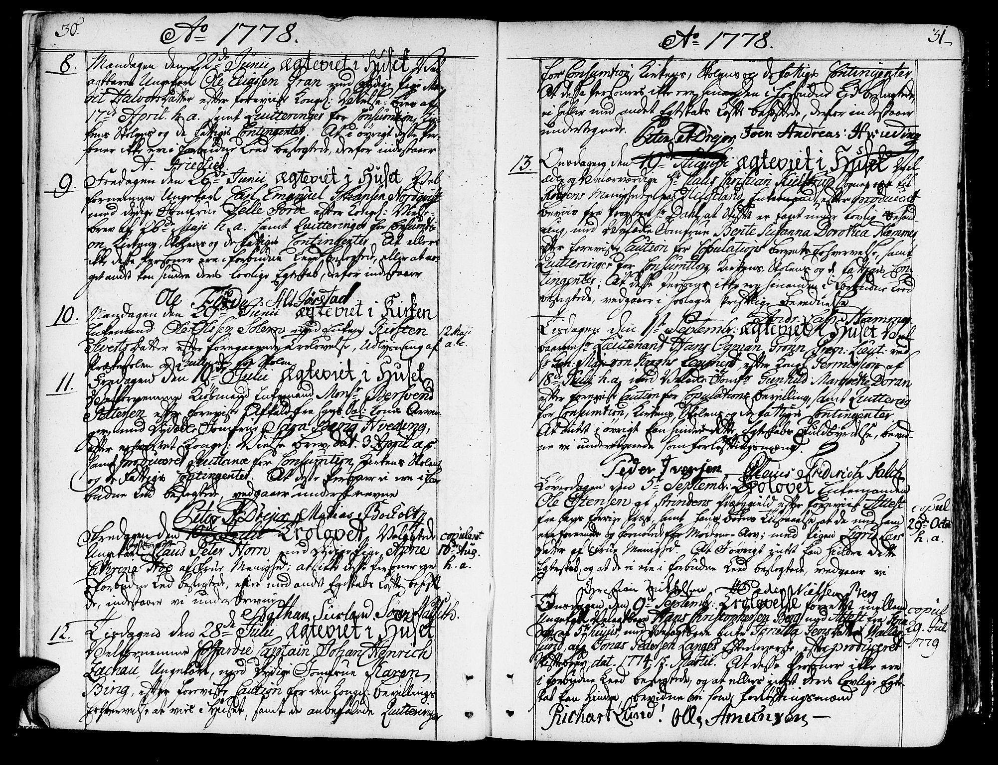 SAT, Ministerialprotokoller, klokkerbøker og fødselsregistre - Sør-Trøndelag, 602/L0105: Ministerialbok nr. 602A03, 1774-1814, s. 30-31