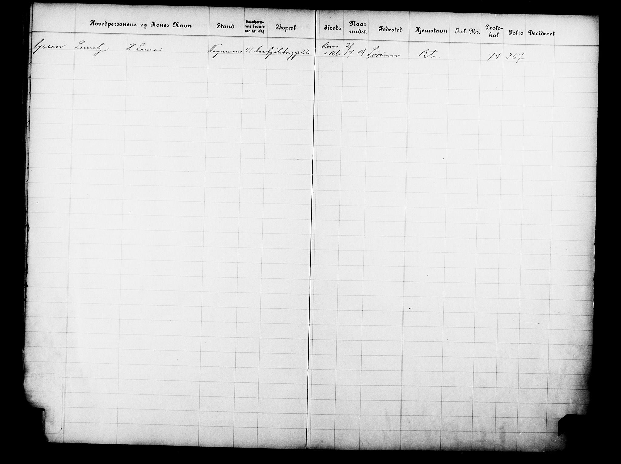 OBA, Fattigvesenet, Fb/L0023: Hjemstavnsregister, 1904, s. 215