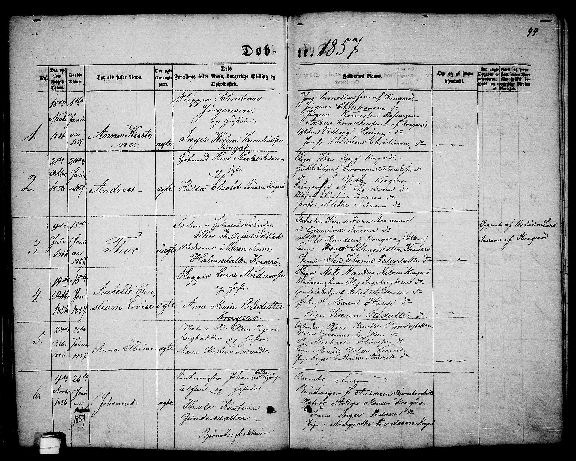 SAKO, Kragerø kirkebøker, G/Ga/L0004: Klokkerbok nr. 4, 1853-1865, s. 44