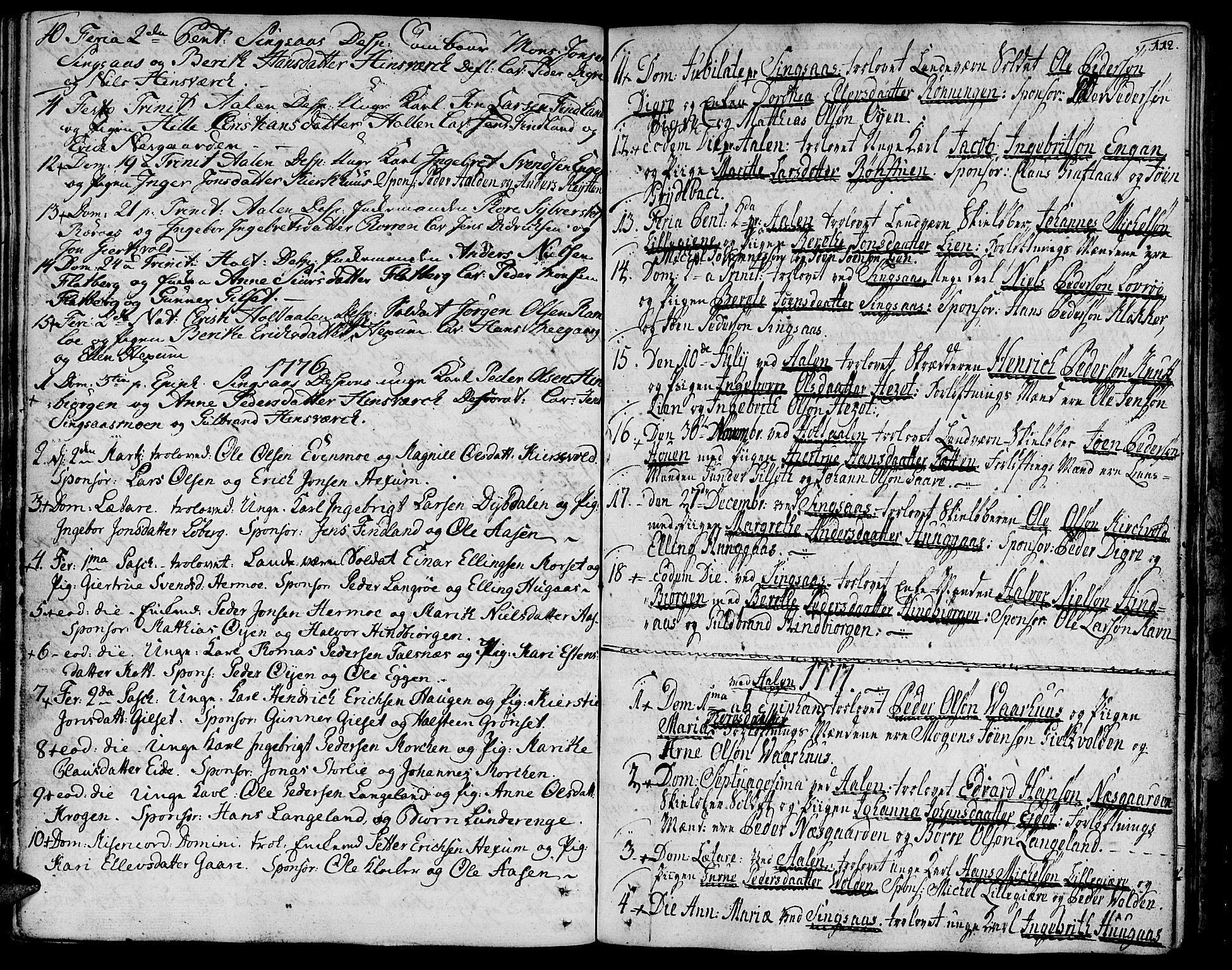 SAT, Ministerialprotokoller, klokkerbøker og fødselsregistre - Sør-Trøndelag, 685/L0952: Ministerialbok nr. 685A01, 1745-1804, s. 112
