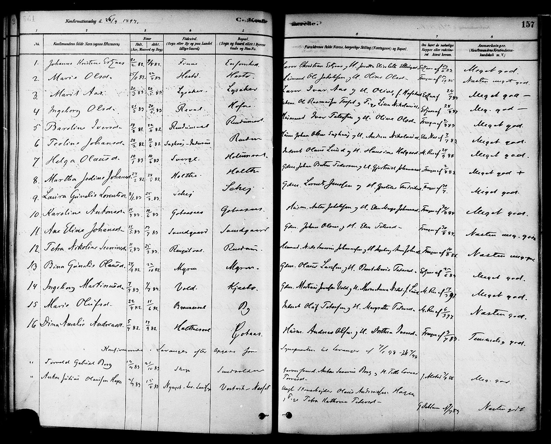 SAT, Ministerialprotokoller, klokkerbøker og fødselsregistre - Nord-Trøndelag, 717/L0159: Ministerialbok nr. 717A09, 1878-1898, s. 157