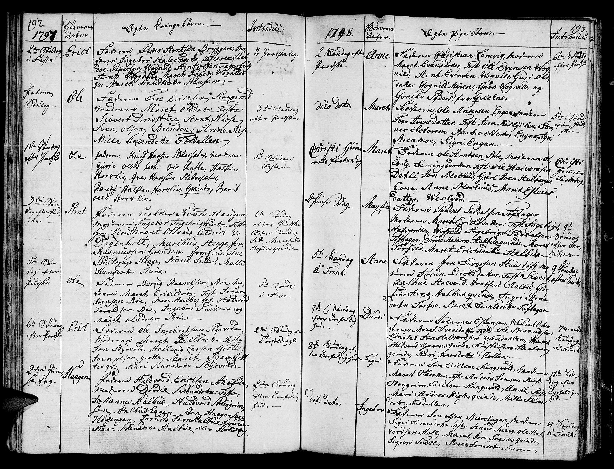 SAT, Ministerialprotokoller, klokkerbøker og fødselsregistre - Sør-Trøndelag, 678/L0893: Ministerialbok nr. 678A03, 1792-1805, s. 192-193