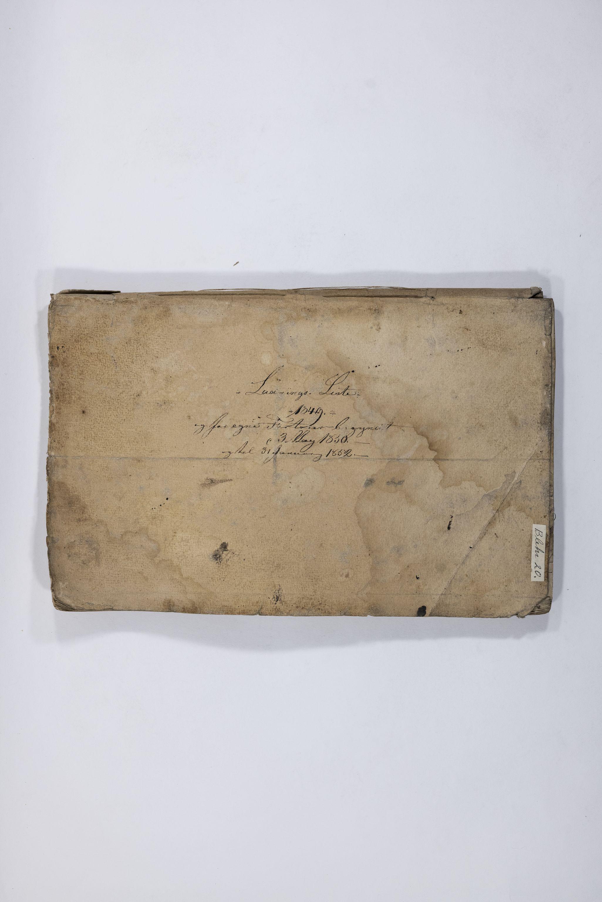 TEMU, Blehr/ Kjellestad, E/Eb/L0005: Ladnings Liste, 1849-1852