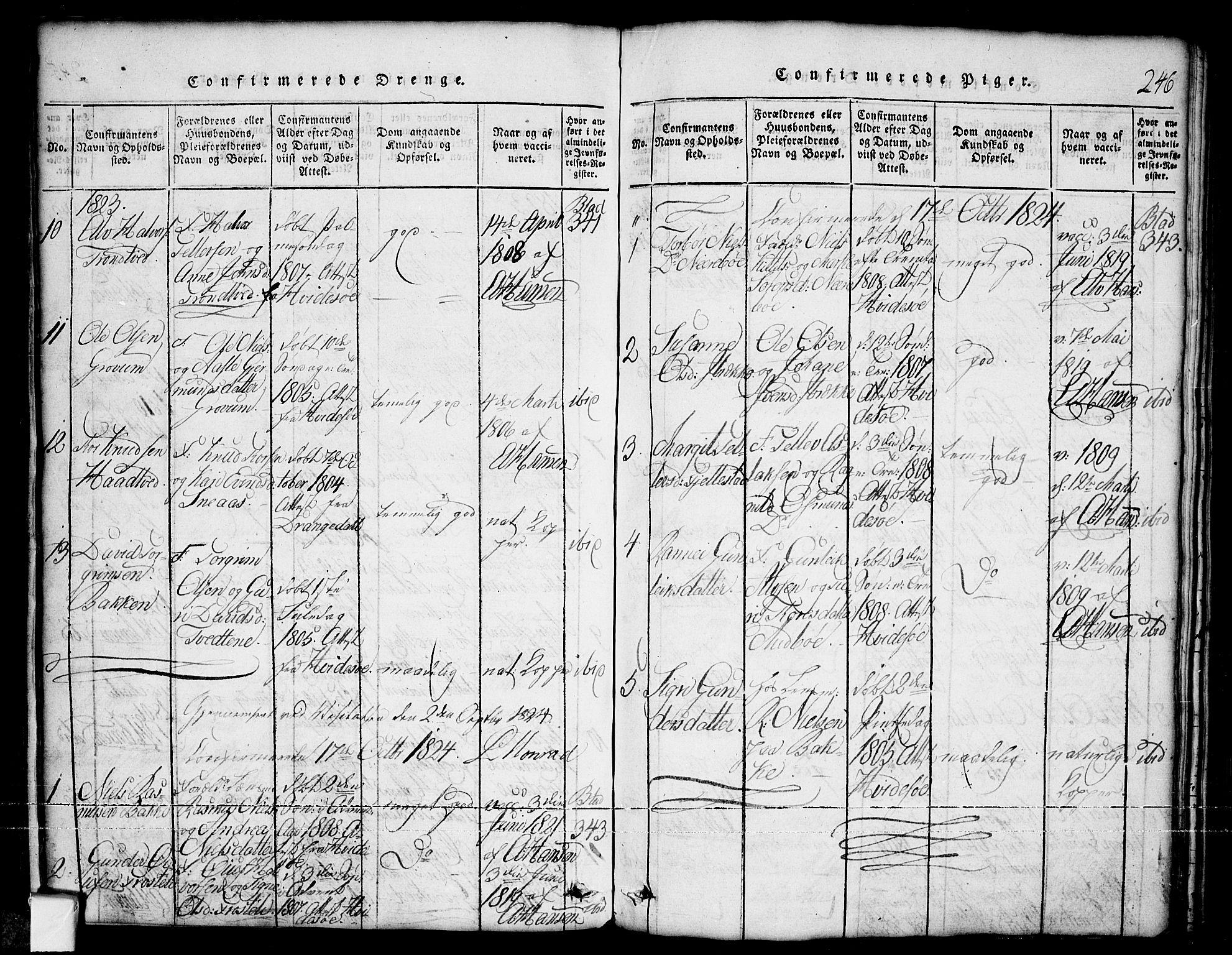 SAKO, Nissedal kirkebøker, G/Ga/L0001: Klokkerbok nr. I 1, 1814-1860, s. 246