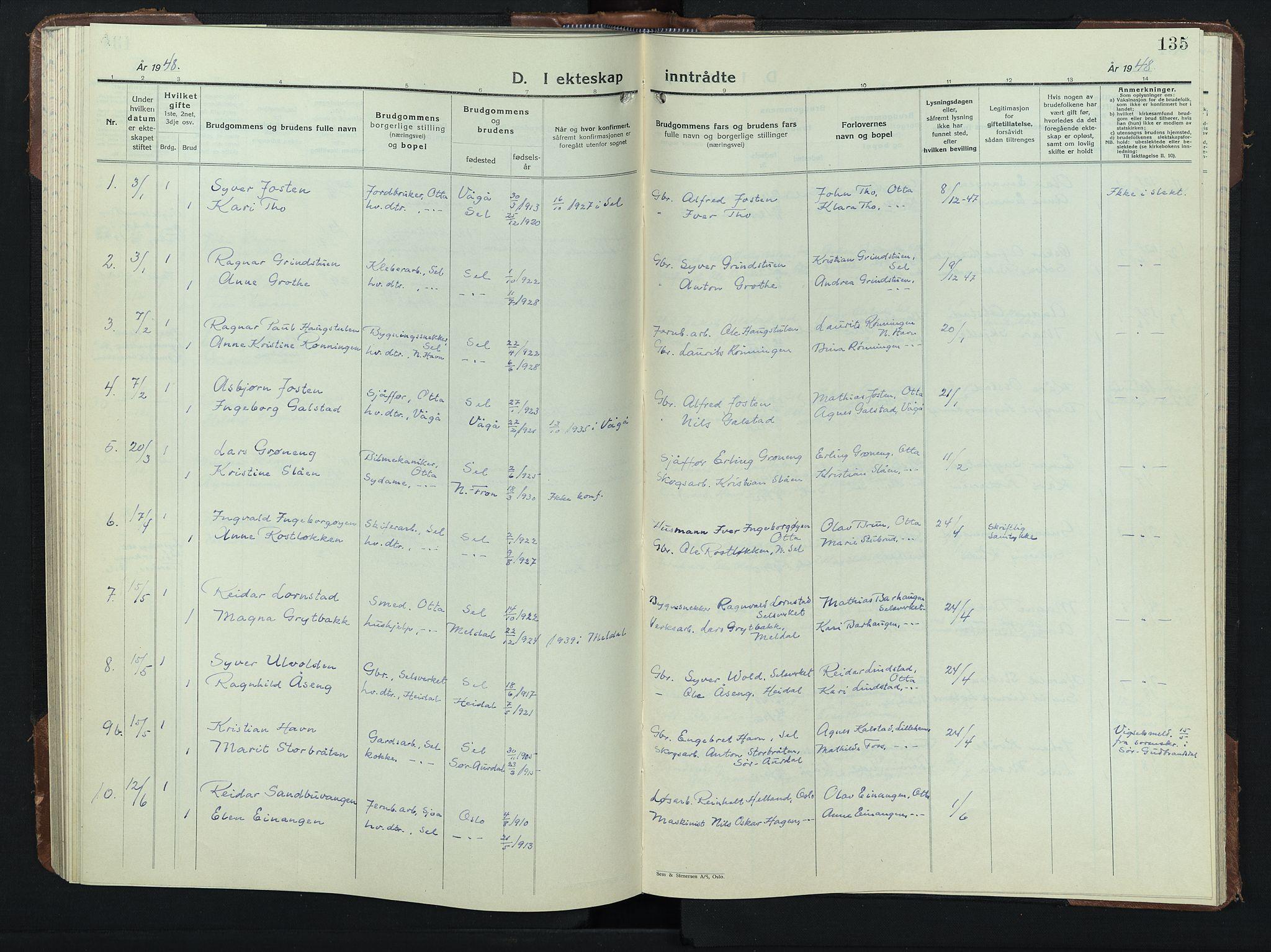SAH, Sel prestekontor, Klokkerbok nr. 3, 1940-1951, s. 135