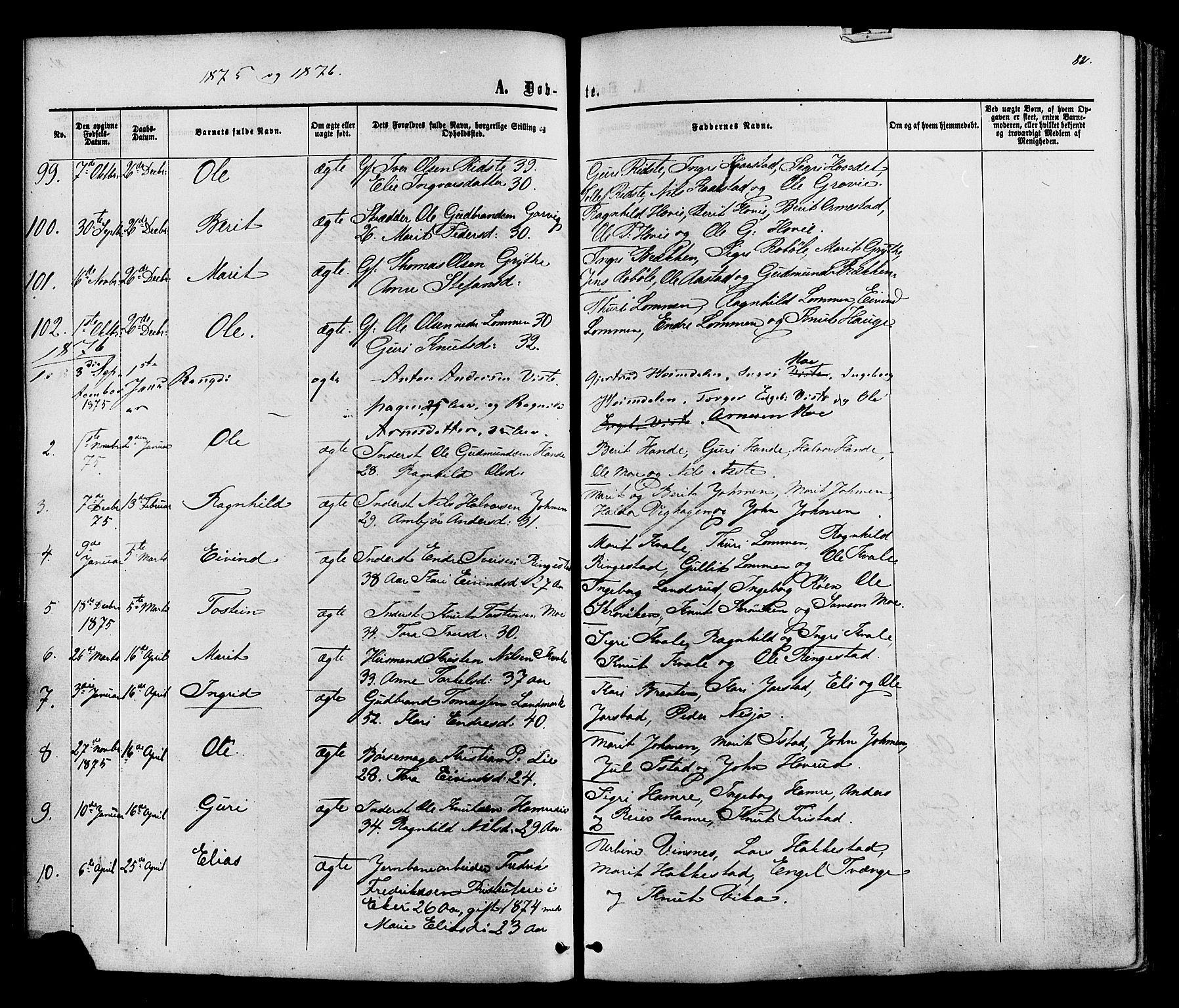 SAH, Vestre Slidre prestekontor, Ministerialbok nr. 3, 1865-1880, s. 82