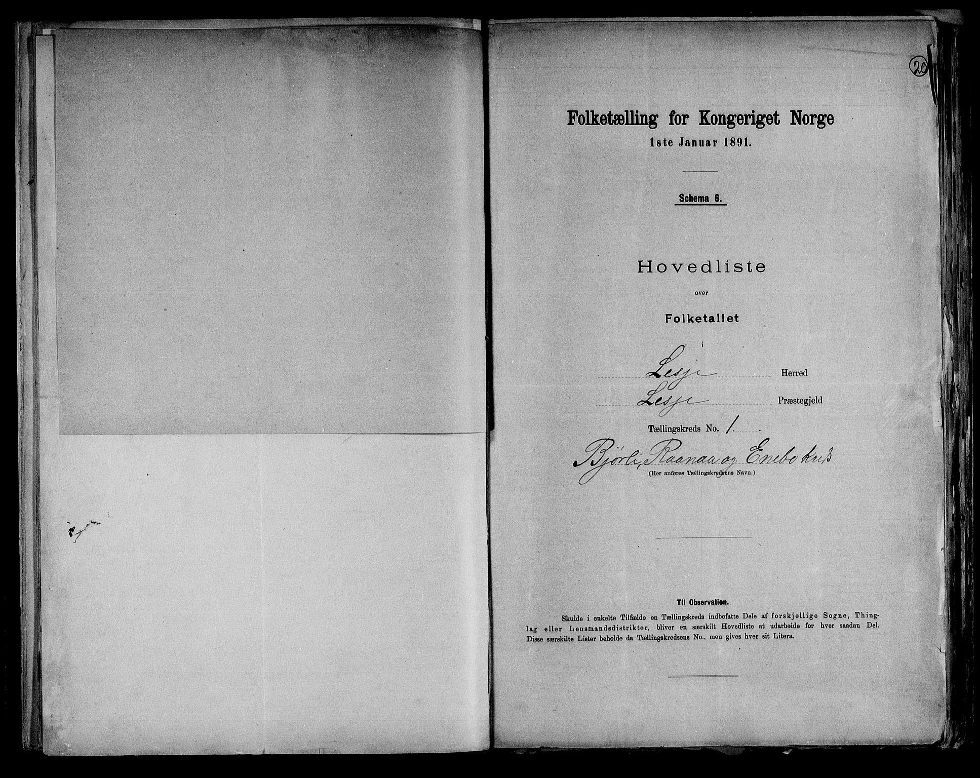 RA, Folketelling 1891 for 0512 Lesja herred, 1891, s. 5