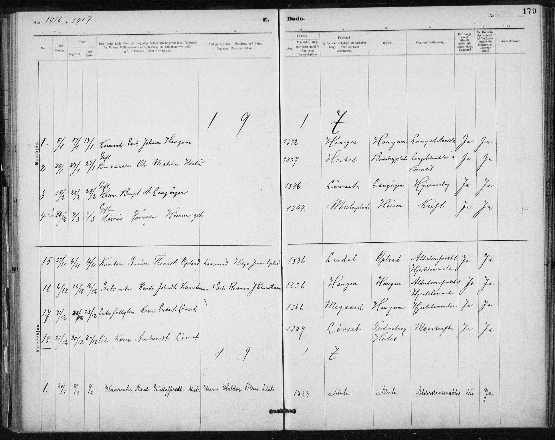 SAT, Ministerialprotokoller, klokkerbøker og fødselsregistre - Sør-Trøndelag, 612/L0381: Ministerialbok nr. 612A13, 1907-1923, s. 179