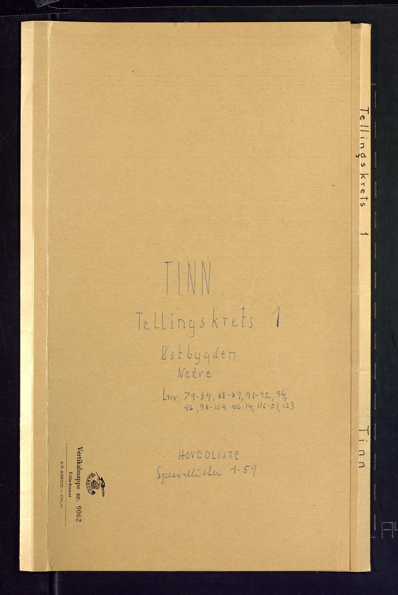 SAKO, Folketelling 1875 for 0826P Tinn prestegjeld, 1875, s. 1