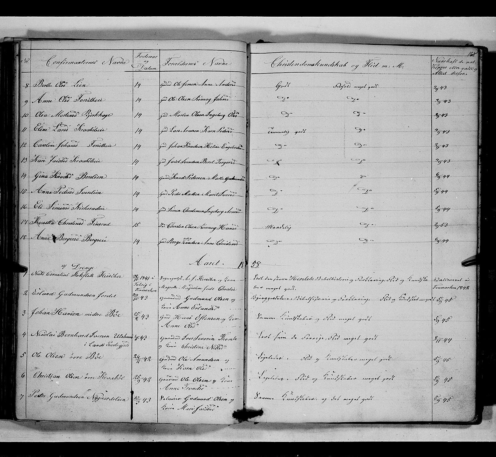 SAH, Gausdal prestekontor, Klokkerbok nr. 5, 1846-1867, s. 165