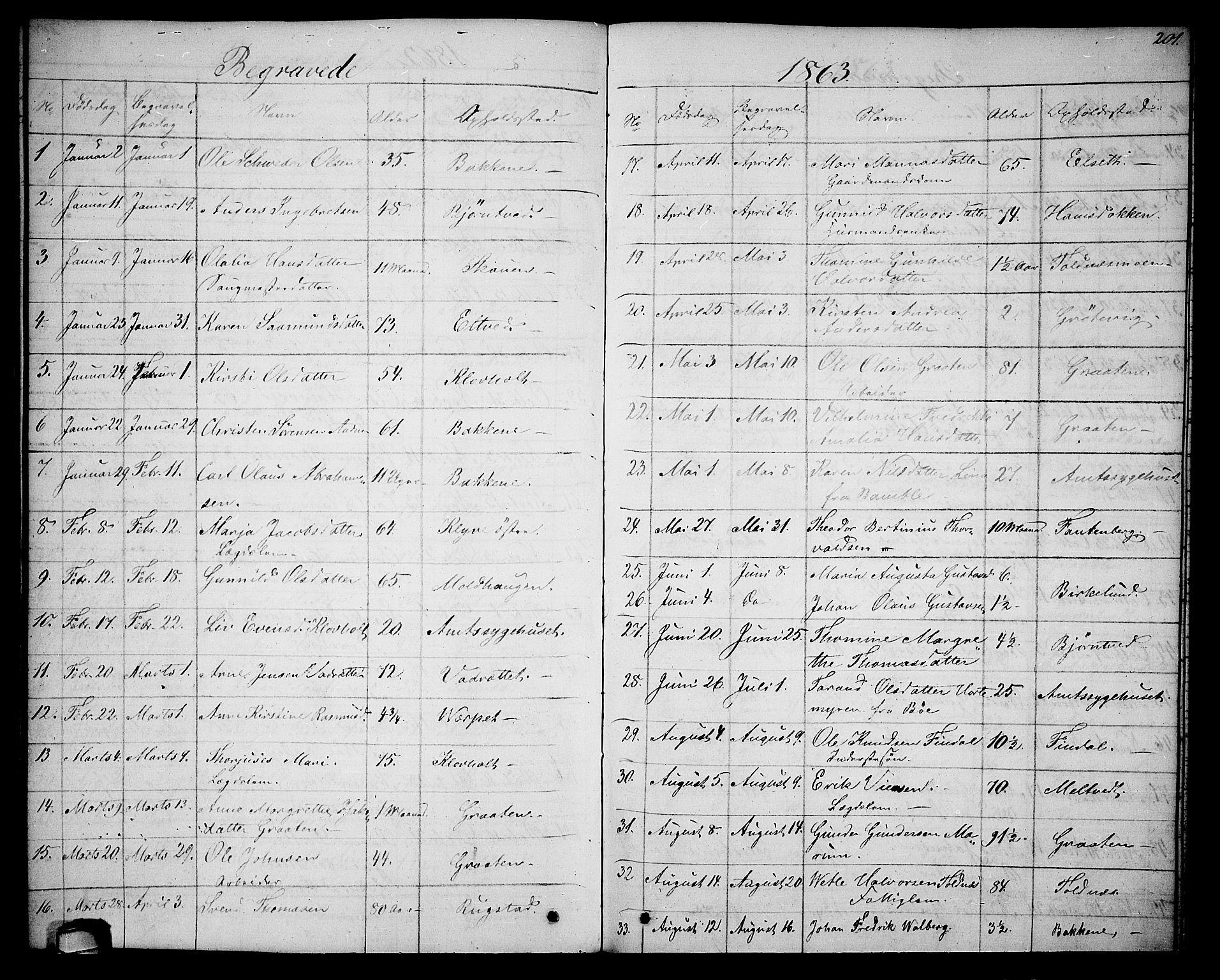 SAKO, Solum kirkebøker, G/Ga/L0004: Klokkerbok nr. I 4, 1859-1876, s. 201