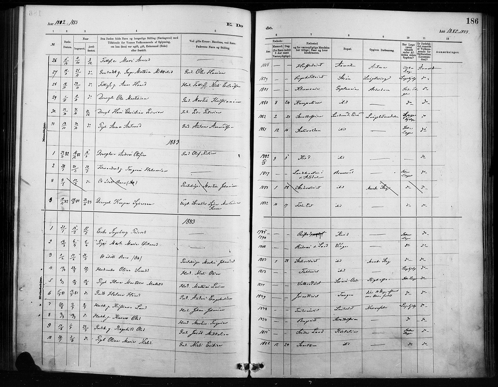 SAH, Nordre Land prestekontor, Ministerialbok nr. 4, 1882-1896, s. 186