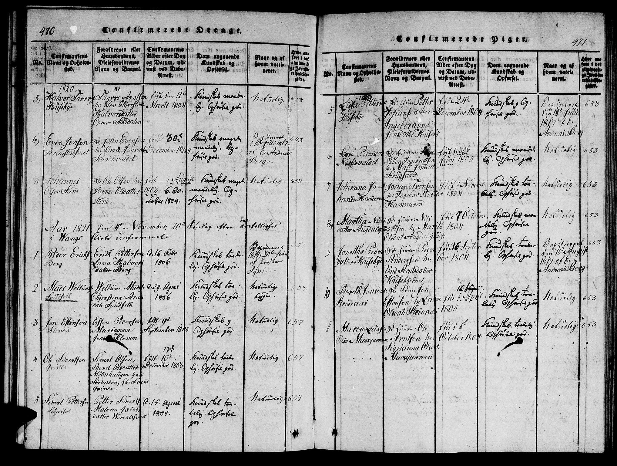 SAT, Ministerialprotokoller, klokkerbøker og fødselsregistre - Nord-Trøndelag, 714/L0132: Klokkerbok nr. 714C01, 1817-1824, s. 470-471