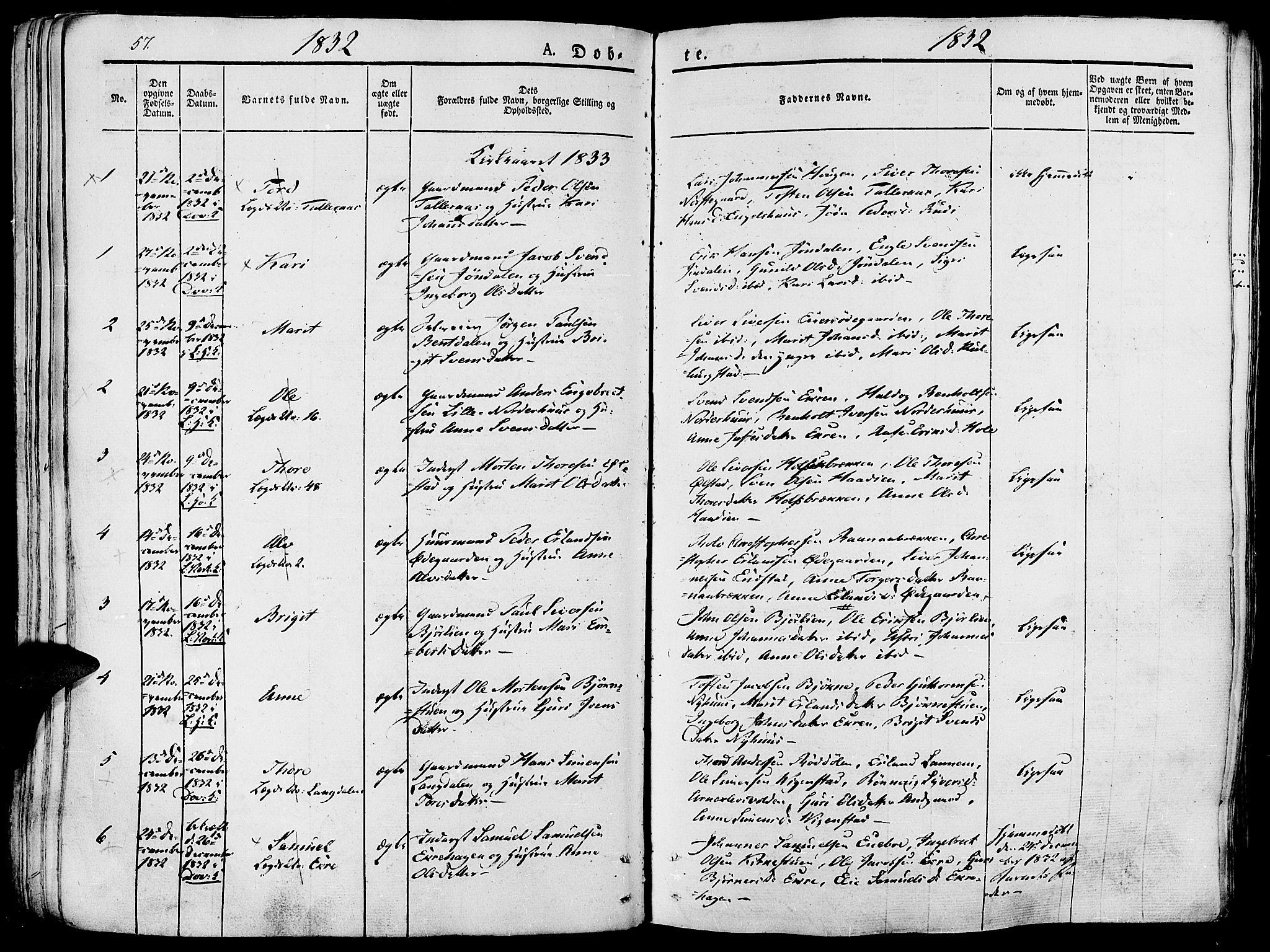 SAH, Lesja prestekontor, Ministerialbok nr. 5, 1830-1842, s. 57