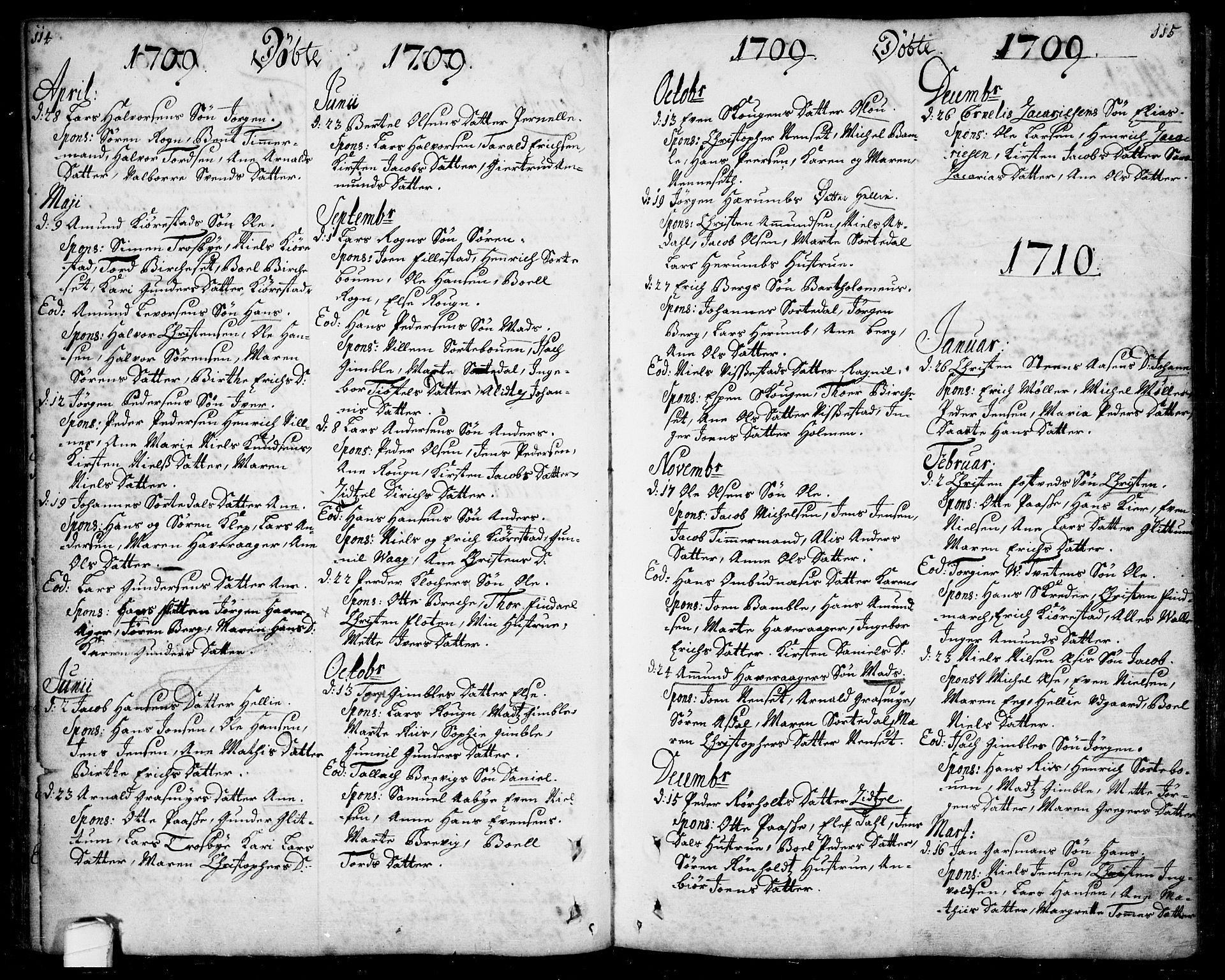 SAKO, Bamble kirkebøker, F/Fa/L0001: Ministerialbok nr. I 1, 1702-1774, s. 114-115
