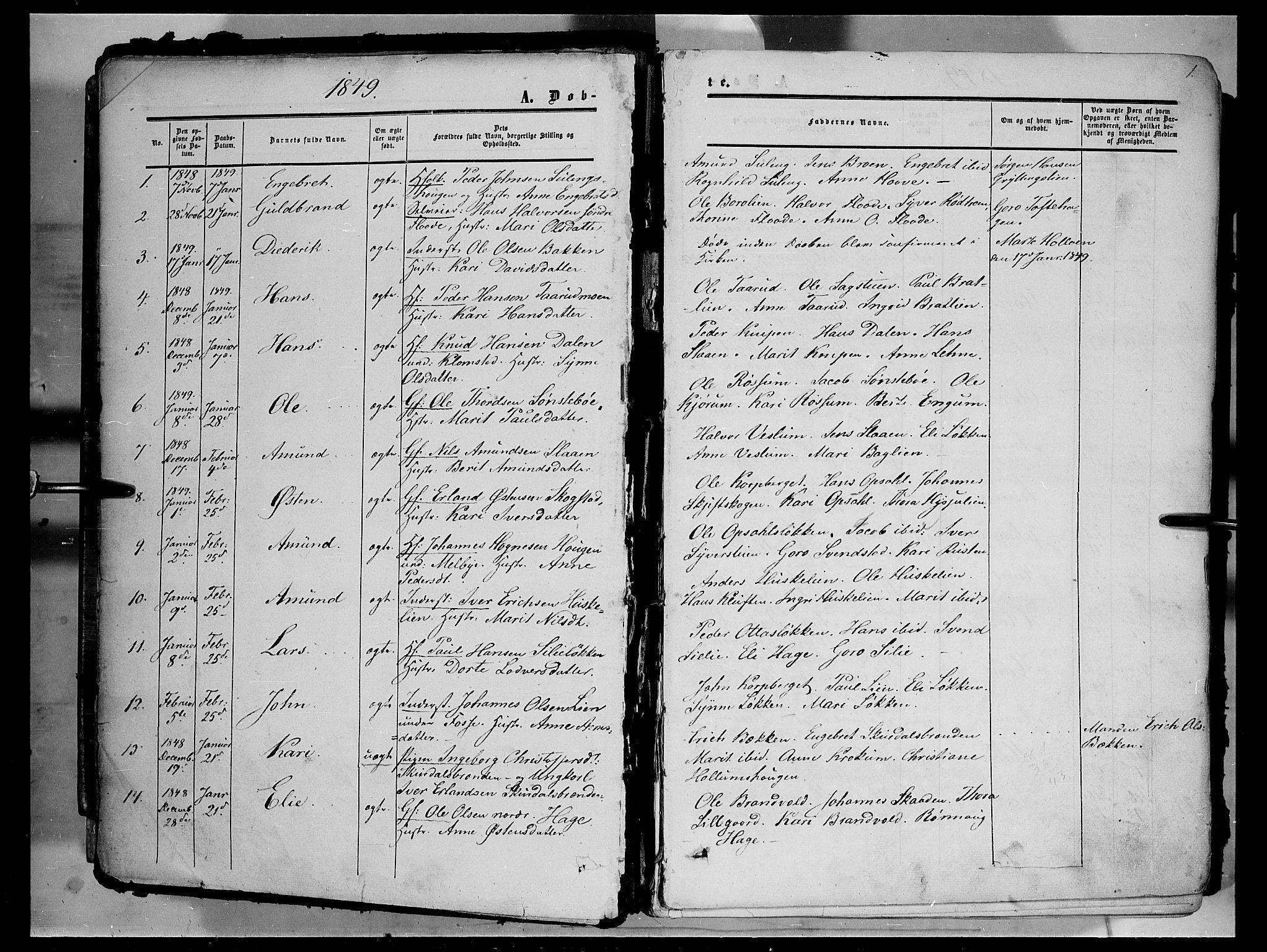 SAH, Sør-Fron prestekontor, H/Ha/Haa/L0001: Ministerialbok nr. 1, 1849-1863, s. 1