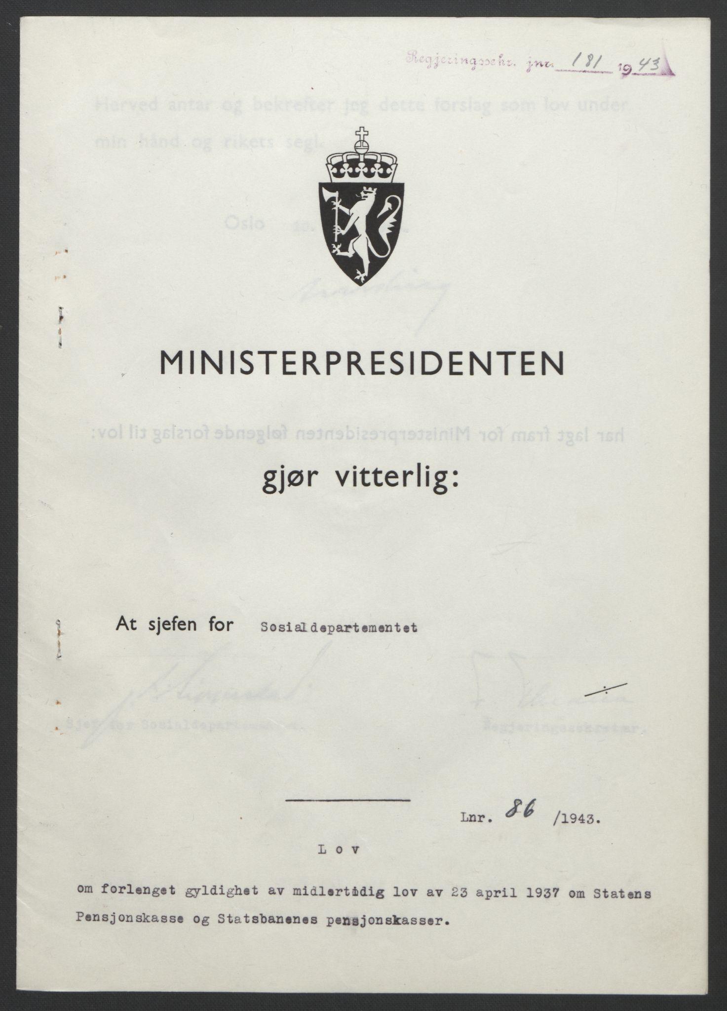 RA, NS-administrasjonen 1940-1945 (Statsrådsekretariatet, de kommisariske statsråder mm), D/Db/L0099: Lover, 1943, s. 392