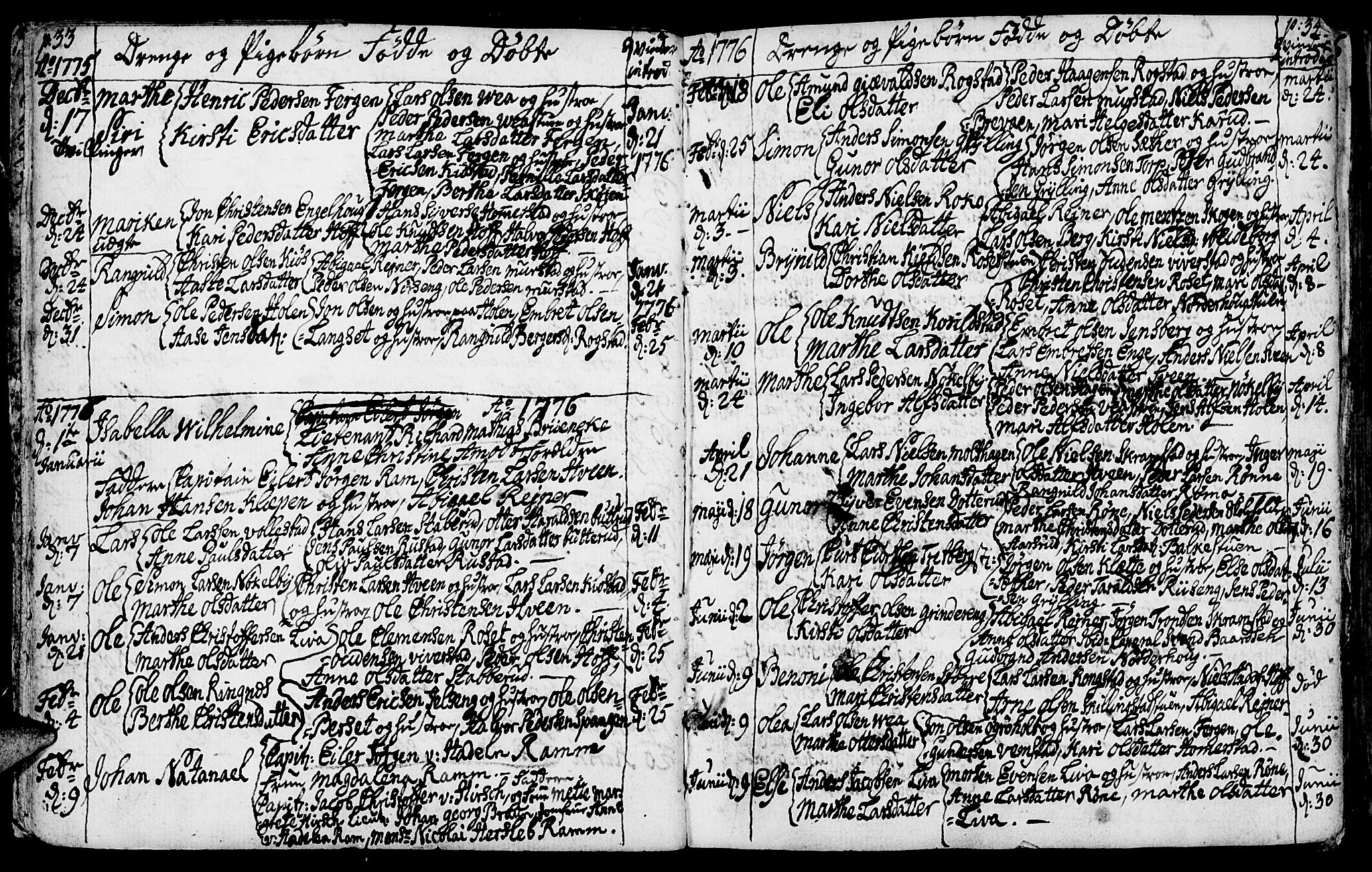 SAH, Løten prestekontor, K/Ka/L0003: Ministerialbok nr. 3, 1773-1800, s. 33-34