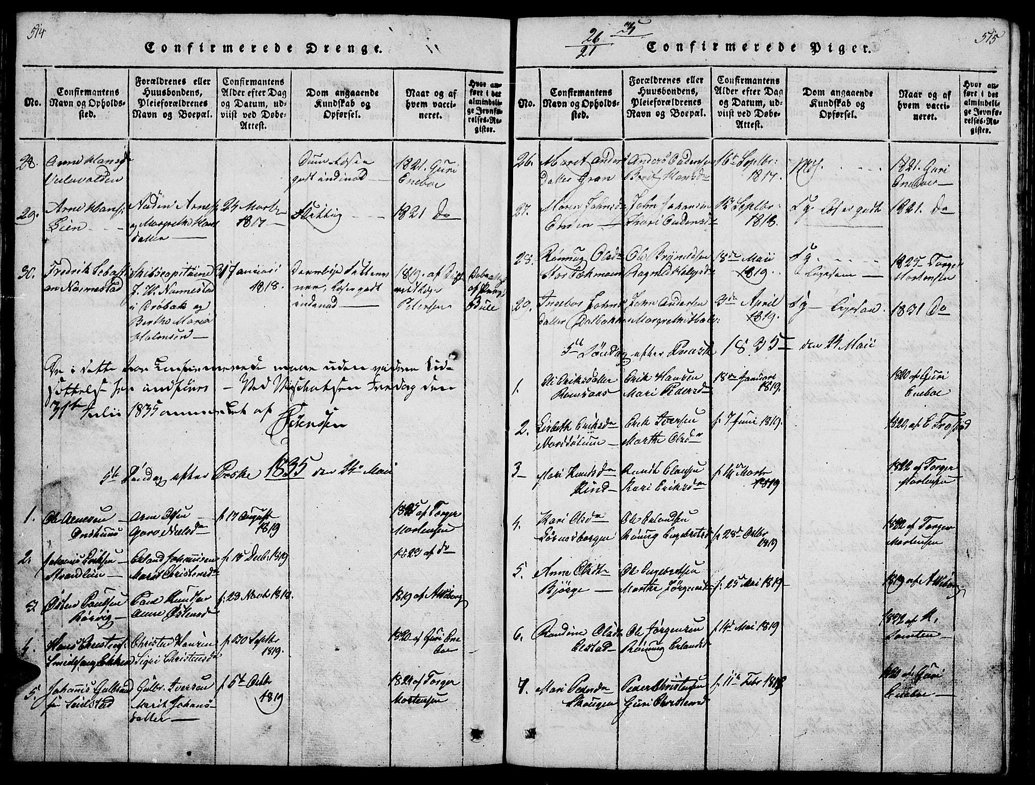 SAH, Ringebu prestekontor, Klokkerbok nr. 1, 1821-1839, s. 514-515