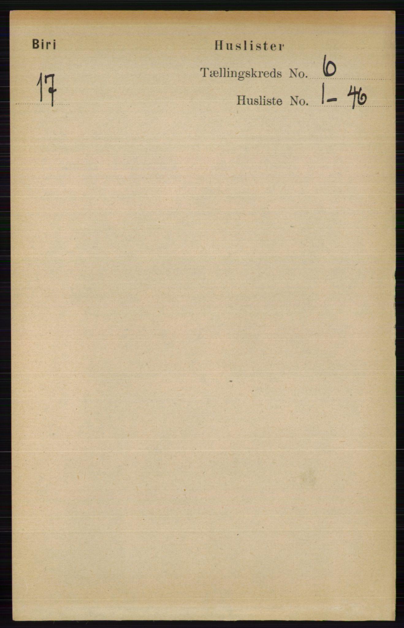 RA, Folketelling 1891 for 0525 Biri herred, 1891, s. 2085