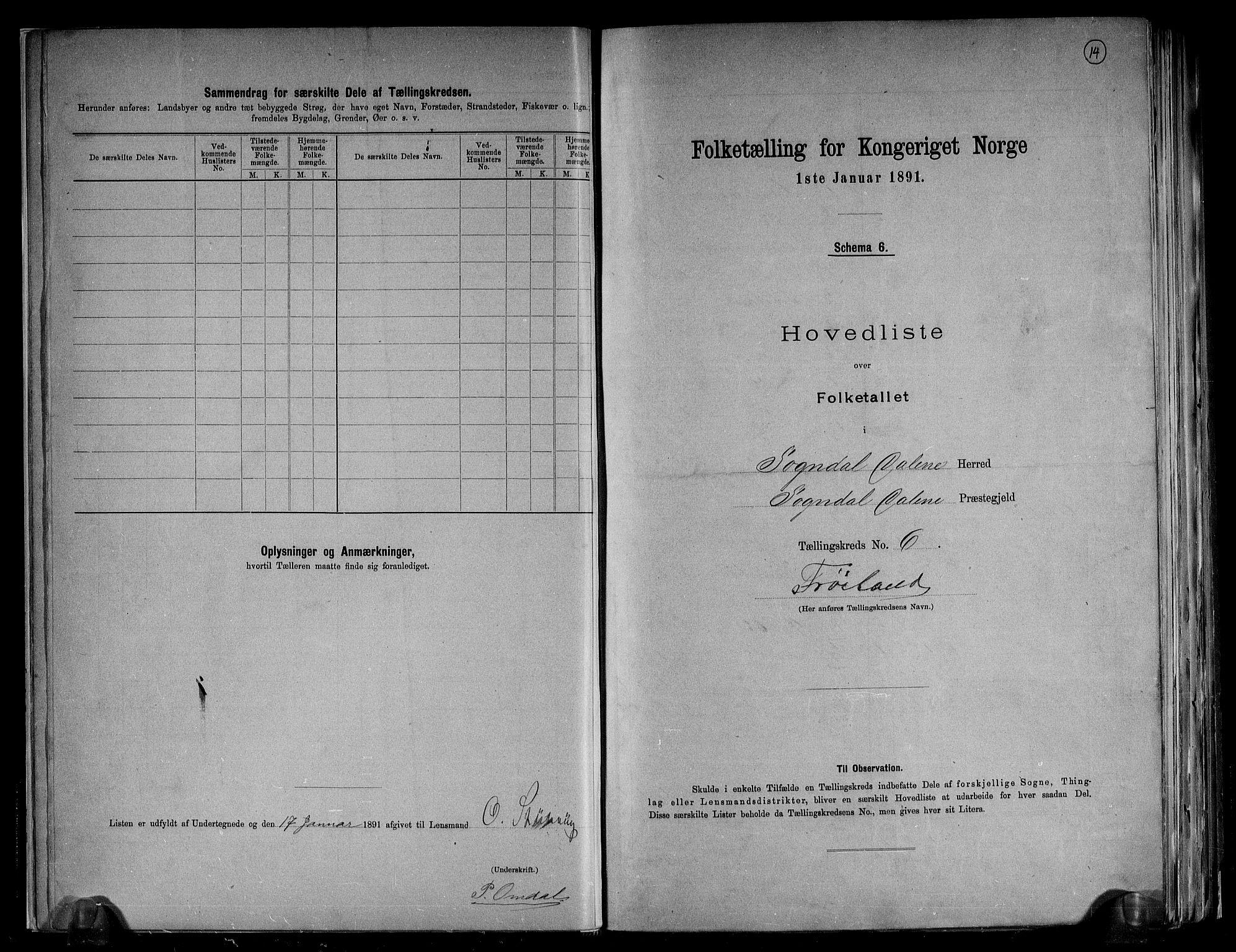 RA, Folketelling 1891 for 1111 Sokndal herred, 1891, s. 14
