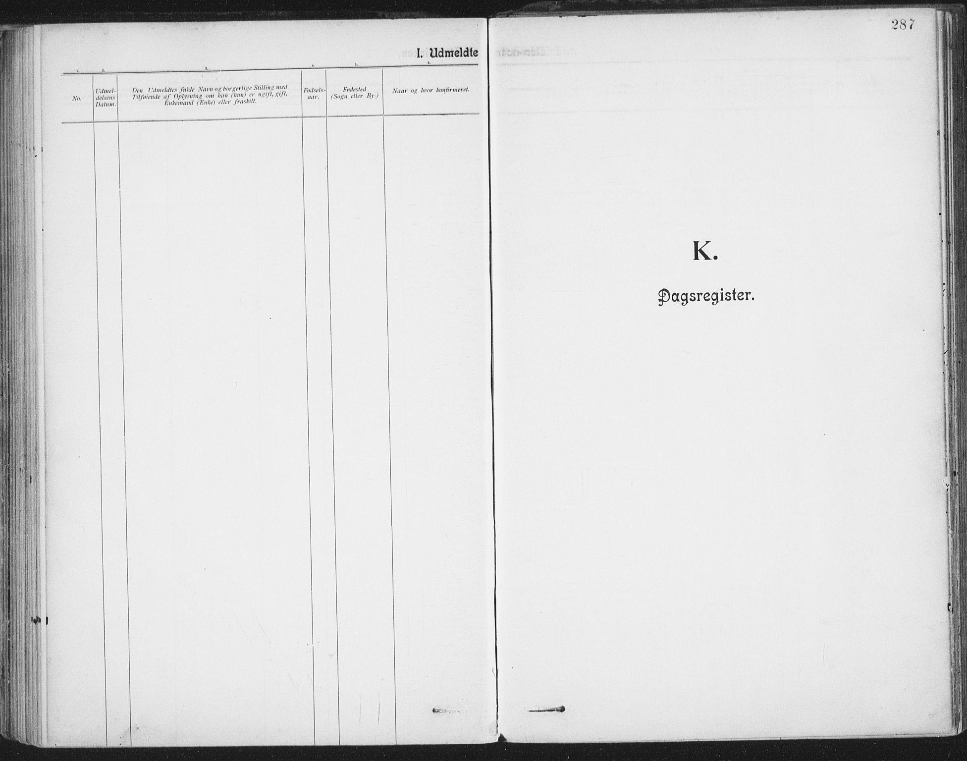 SAT, Ministerialprotokoller, klokkerbøker og fødselsregistre - Nordland, 801/L0012: Ministerialbok nr. 801A12, 1900-1916, s. 287