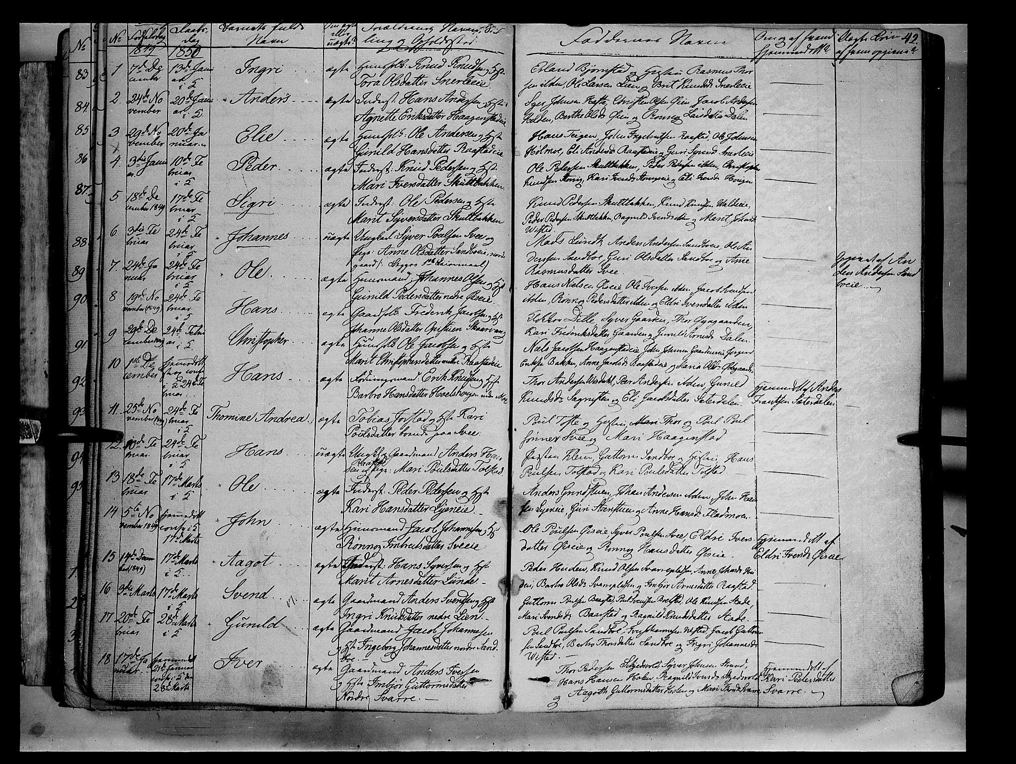 SAH, Vågå prestekontor, Ministerialbok nr. 5 /1, 1842-1856, s. 42