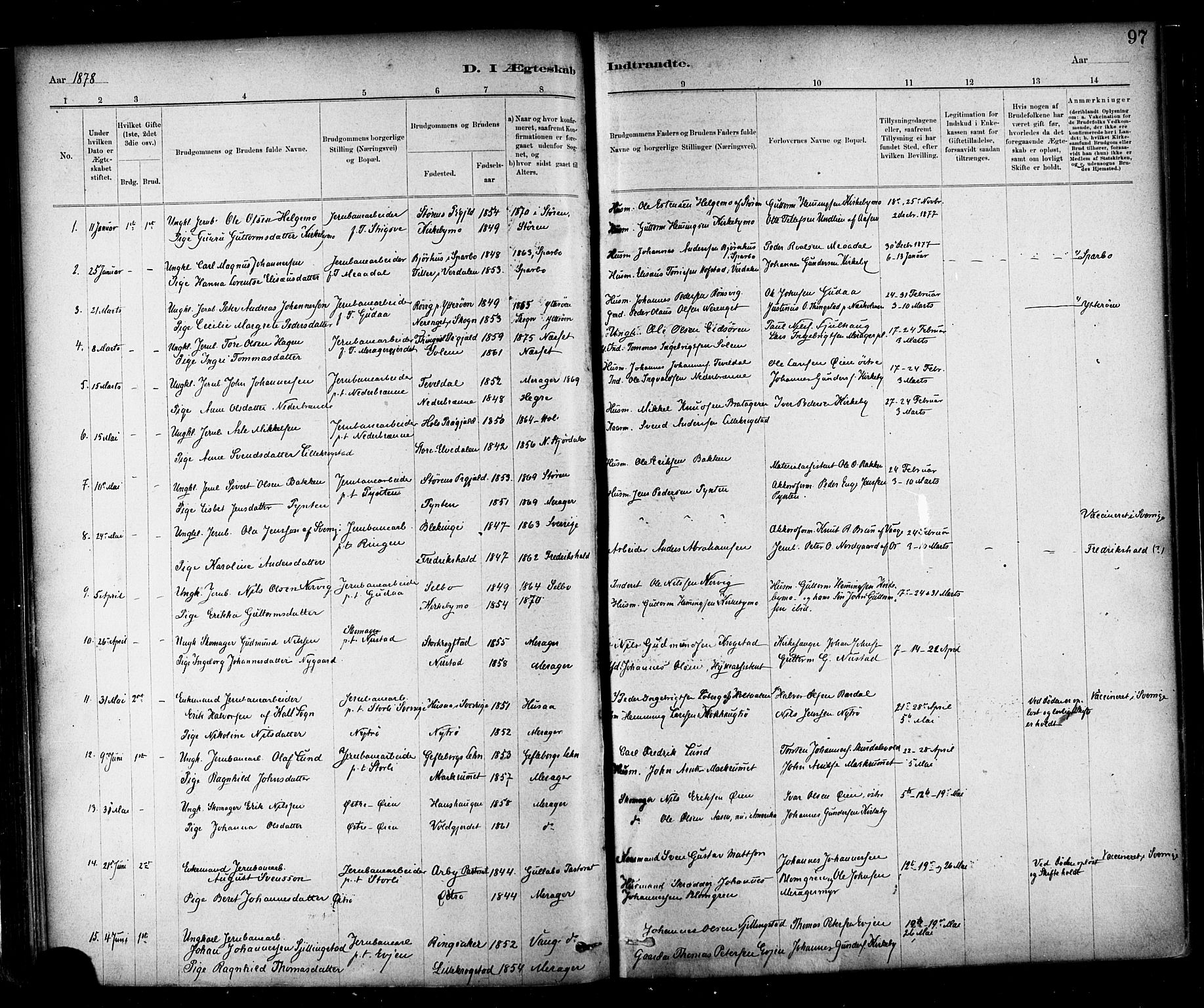 SAT, Ministerialprotokoller, klokkerbøker og fødselsregistre - Nord-Trøndelag, 706/L0047: Ministerialbok nr. 706A03, 1878-1892, s. 97
