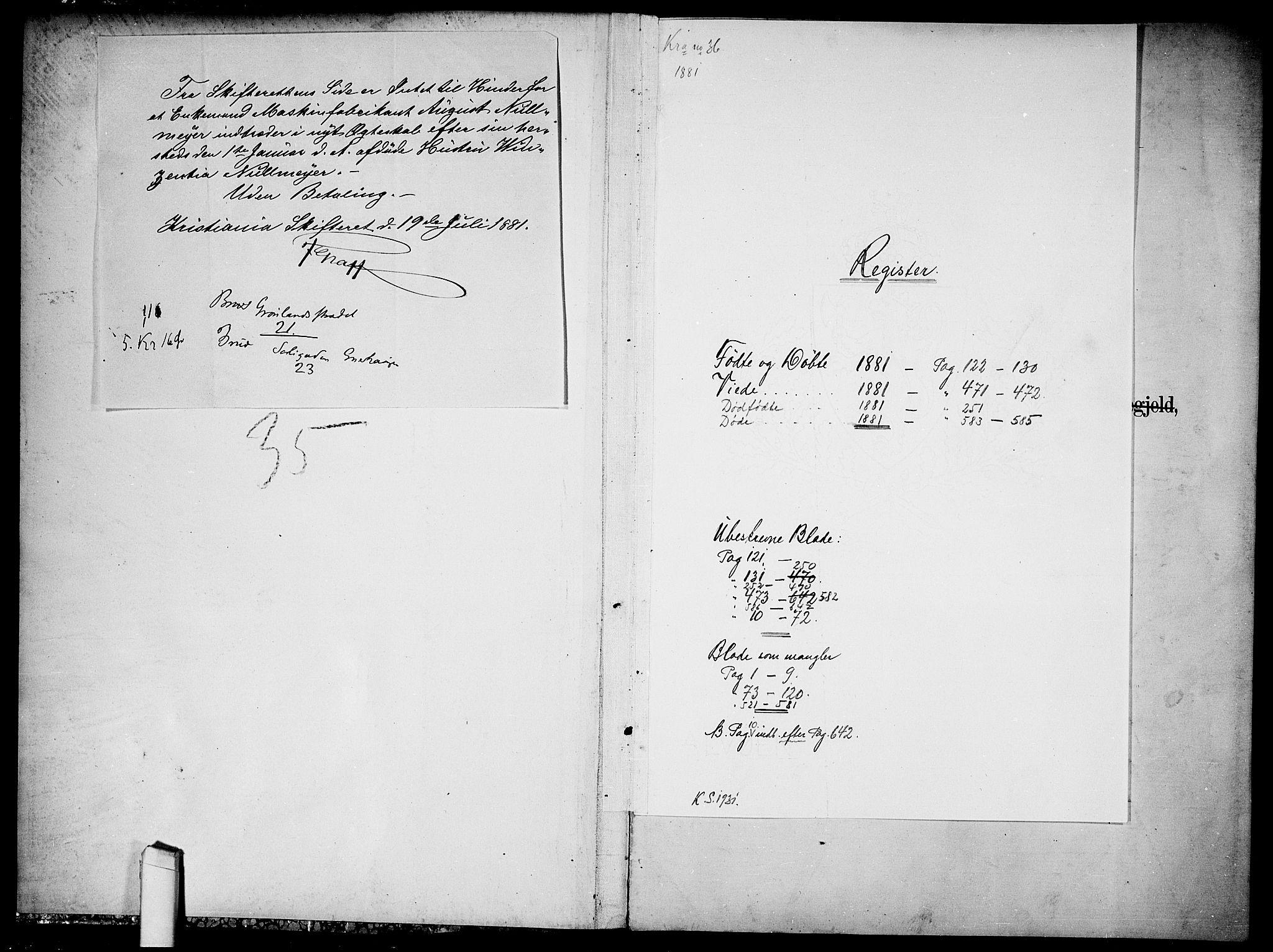 SAO, Garnisonsmenigheten Kirkebøker, G/Ga/L0007: Klokkerbok nr. 7, 1881-1881