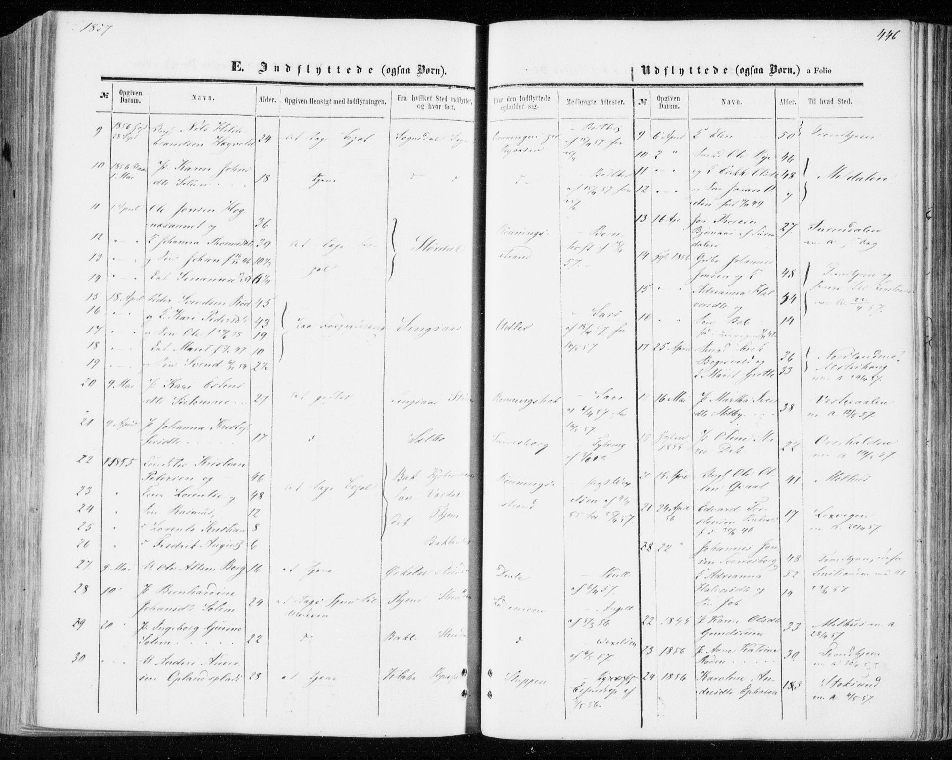 SAT, Ministerialprotokoller, klokkerbøker og fødselsregistre - Sør-Trøndelag, 606/L0292: Ministerialbok nr. 606A07, 1856-1865, s. 446